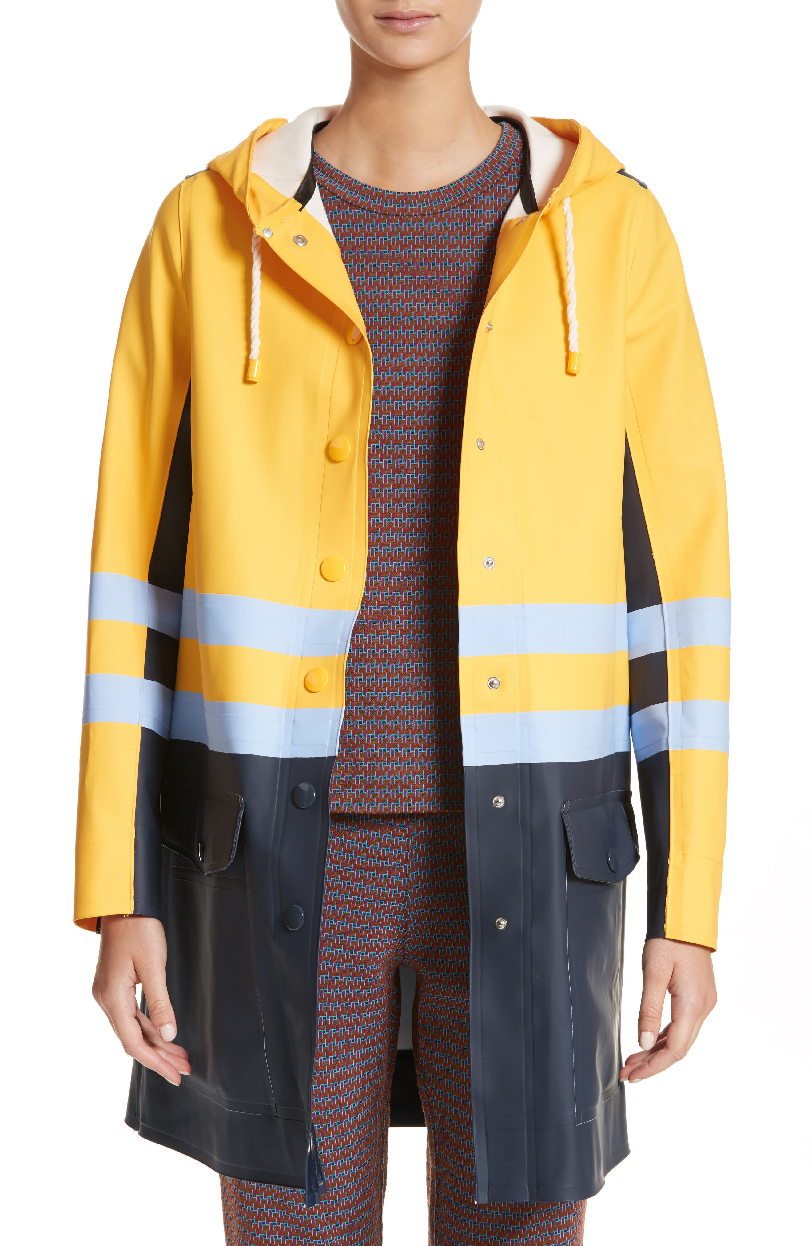 Stutterheim x Marni Waterproof Hooded Raincoat,                         Main,                         color, Iris Blue