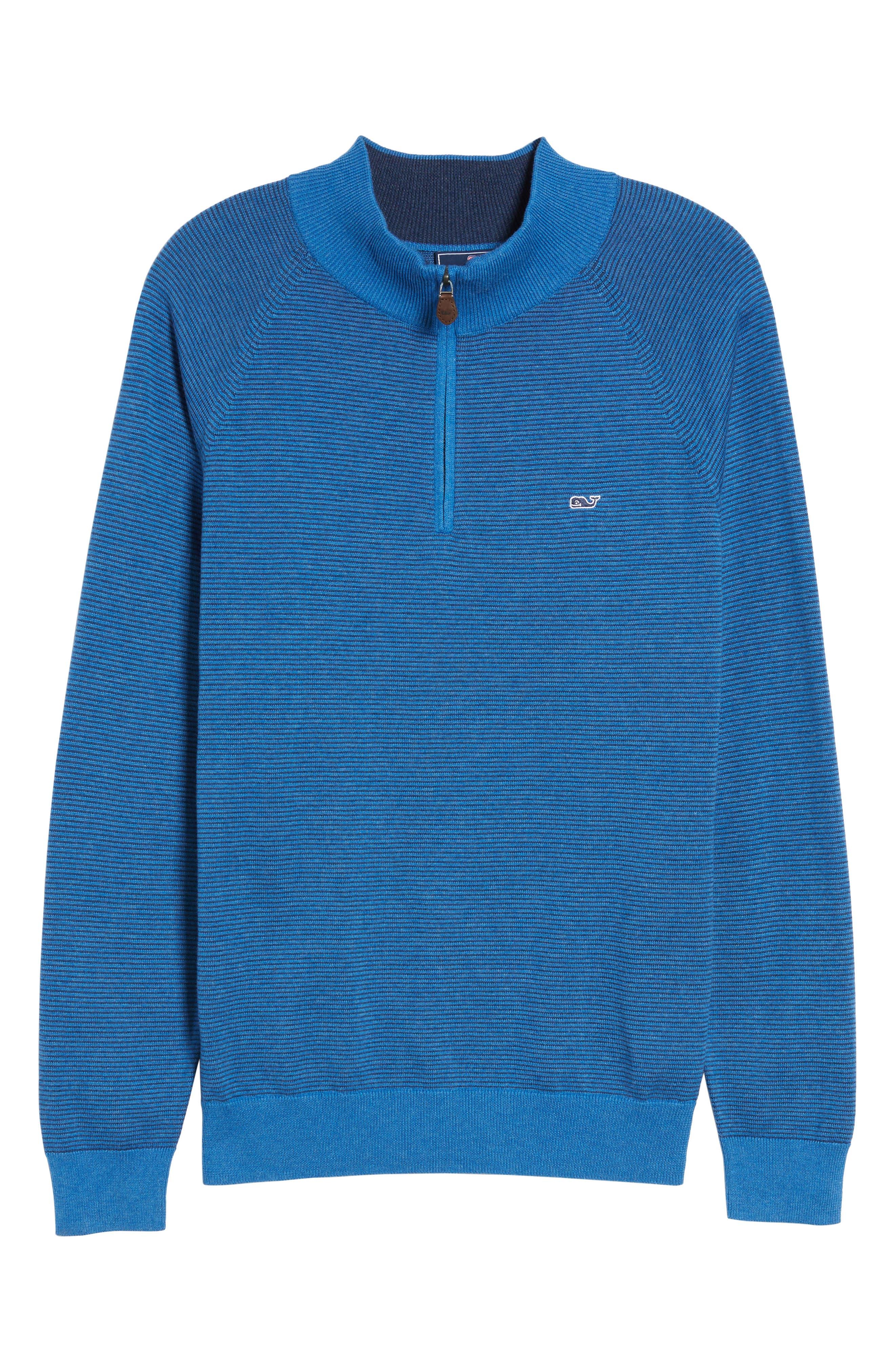 Fine Stripe Quarter Zip Sweater,                             Alternate thumbnail 6, color,                             Regatta Blue