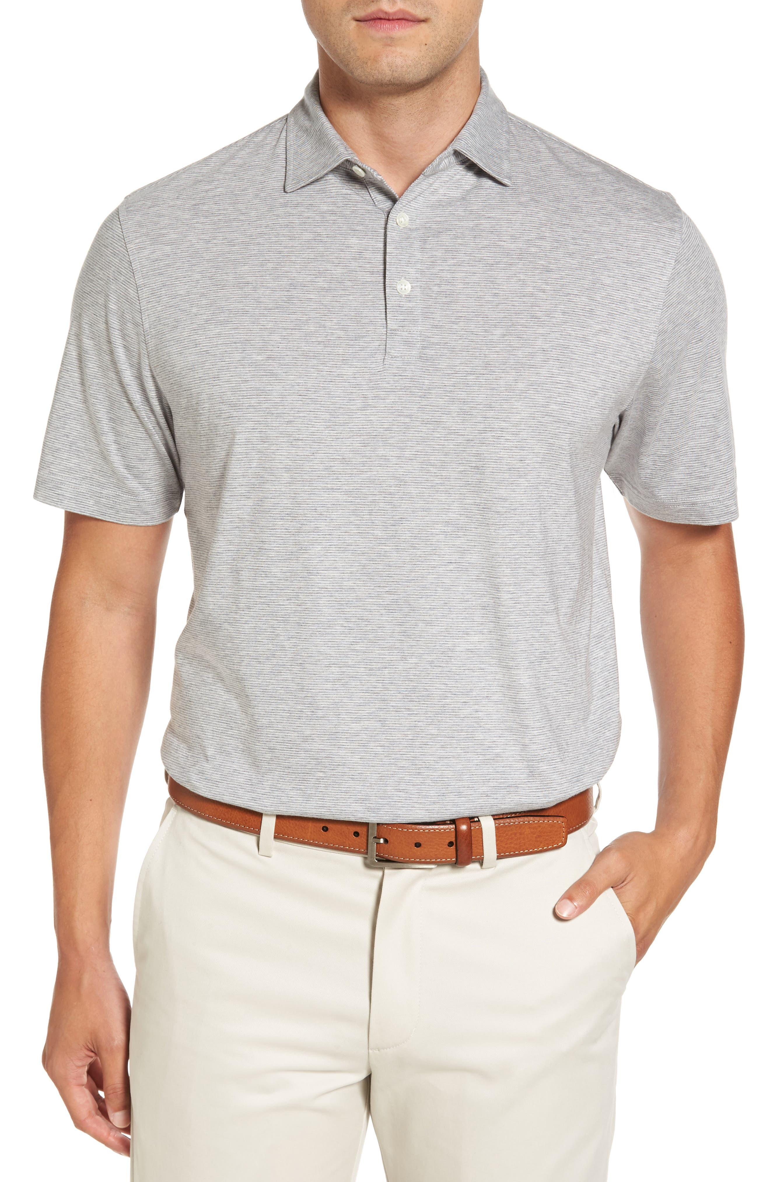 Crown Pinstripe Polo,                         Main,                         color, Stingray