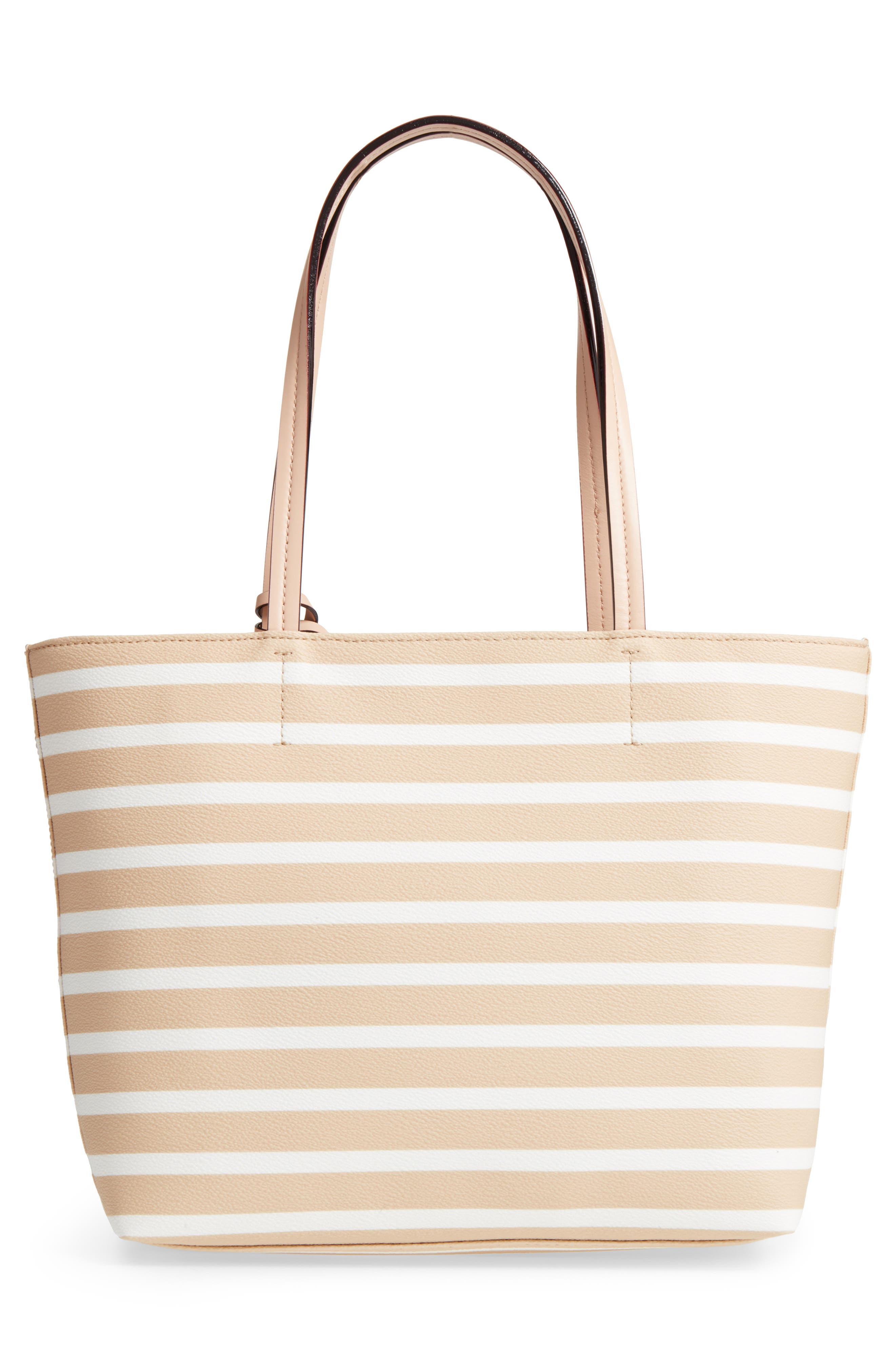 hyde lane - small riley faux leather tote,                             Alternate thumbnail 4, color,                             Classic Camel/ Cream