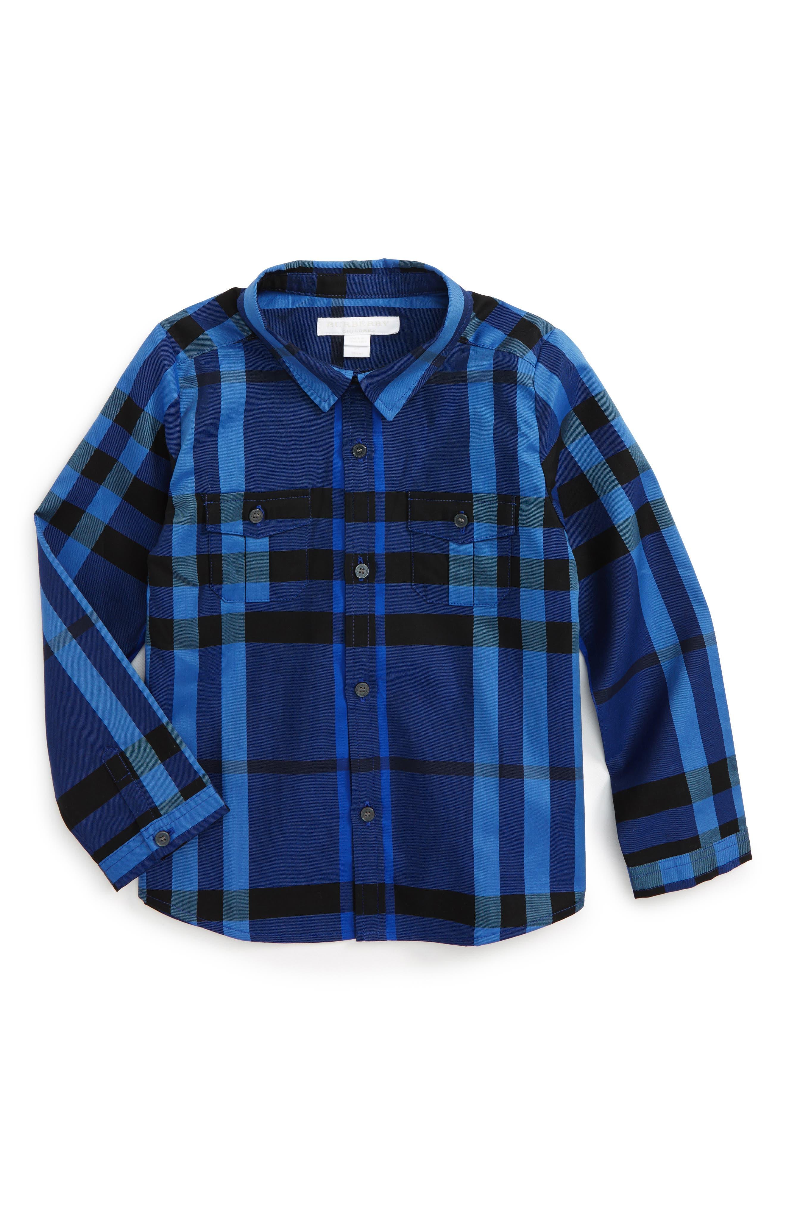 Alternate Image 1 Selected - Burberry Trenta Plaid Woven Shirt (Baby Boys)