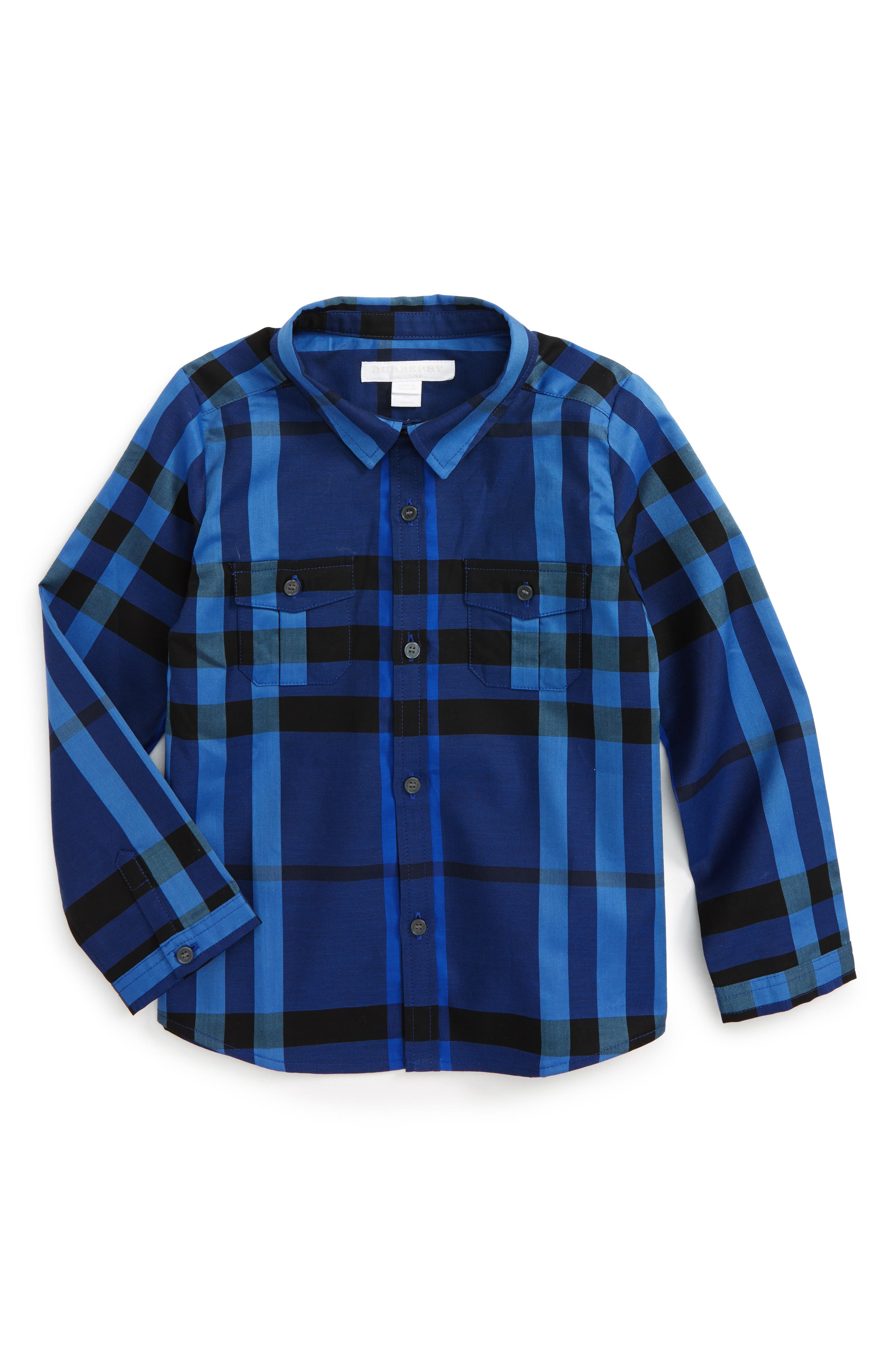 Main Image - Burberry Trenta Plaid Woven Shirt (Baby Boys)