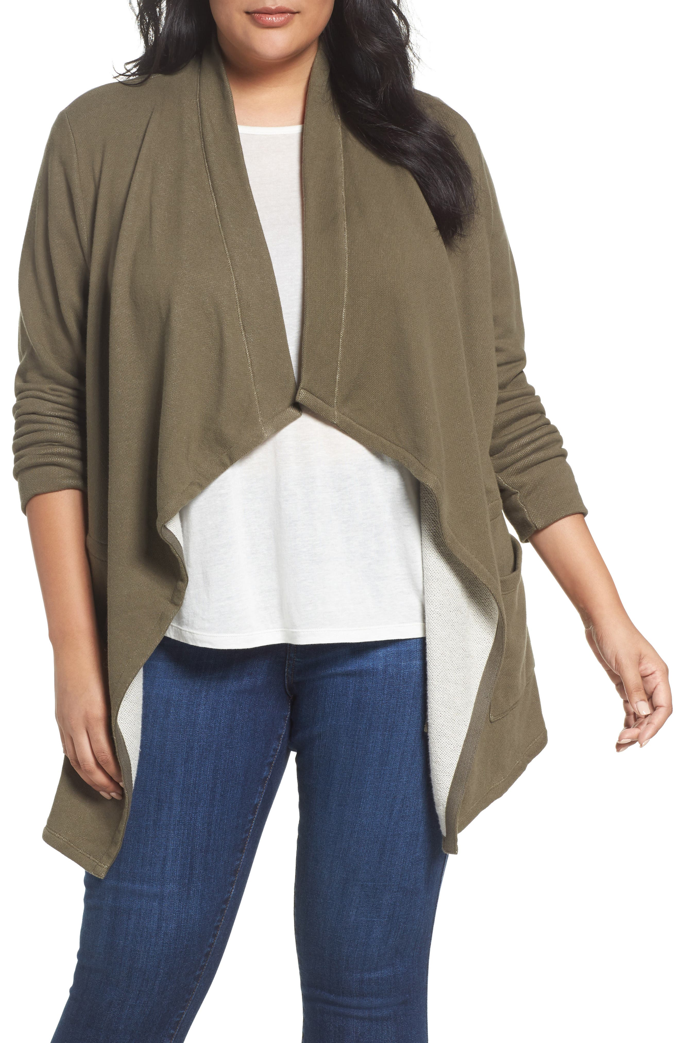 Caslon® Knit Drape Front Jacket (Plus Size)