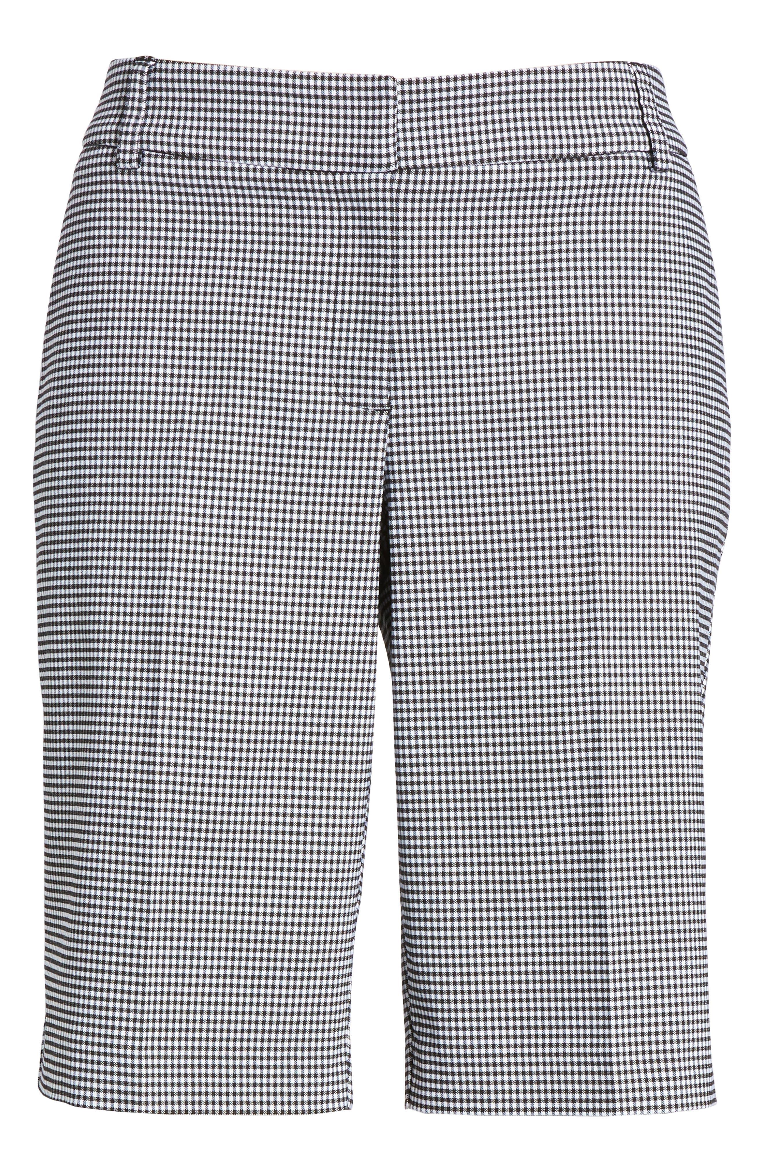 Stretch Bermuda Shorts,                             Alternate thumbnail 6, color,                             Black- White Gingham
