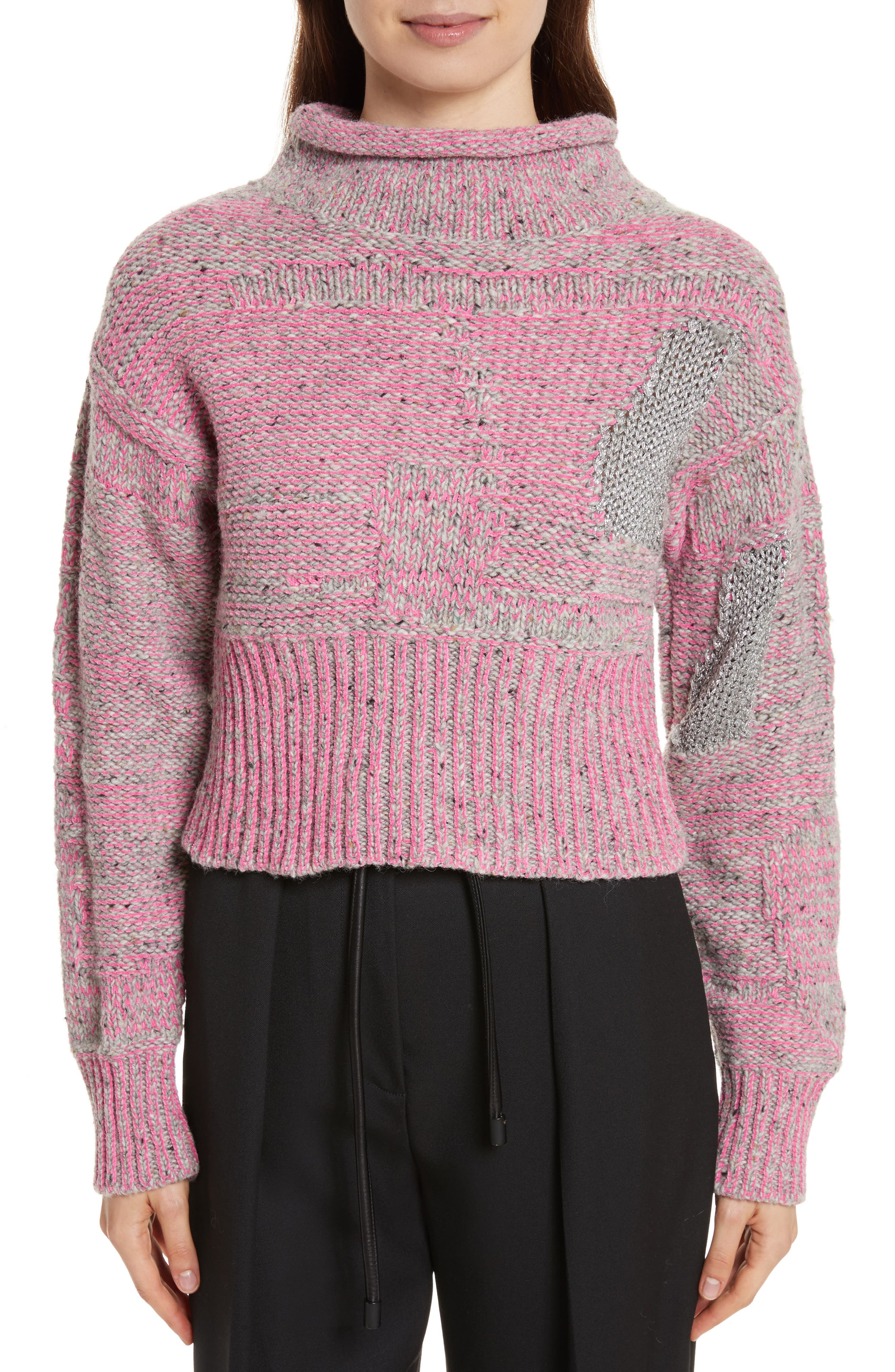 Wool Blend Funnel Neck Sweater,                         Main,                         color, Candy Pink