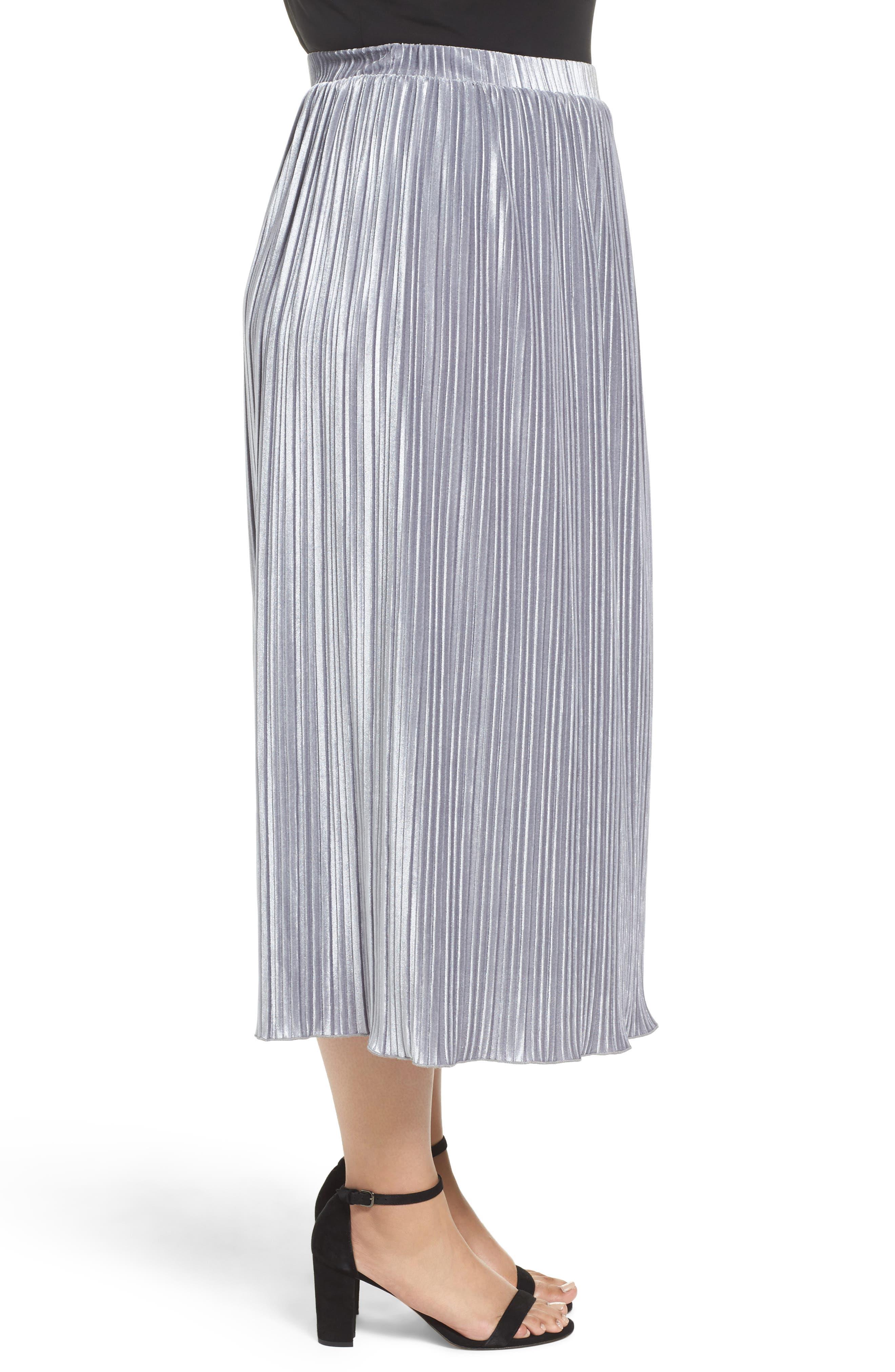 Pleat Velour Midi Skirt,                             Alternate thumbnail 4, color,                             Grey