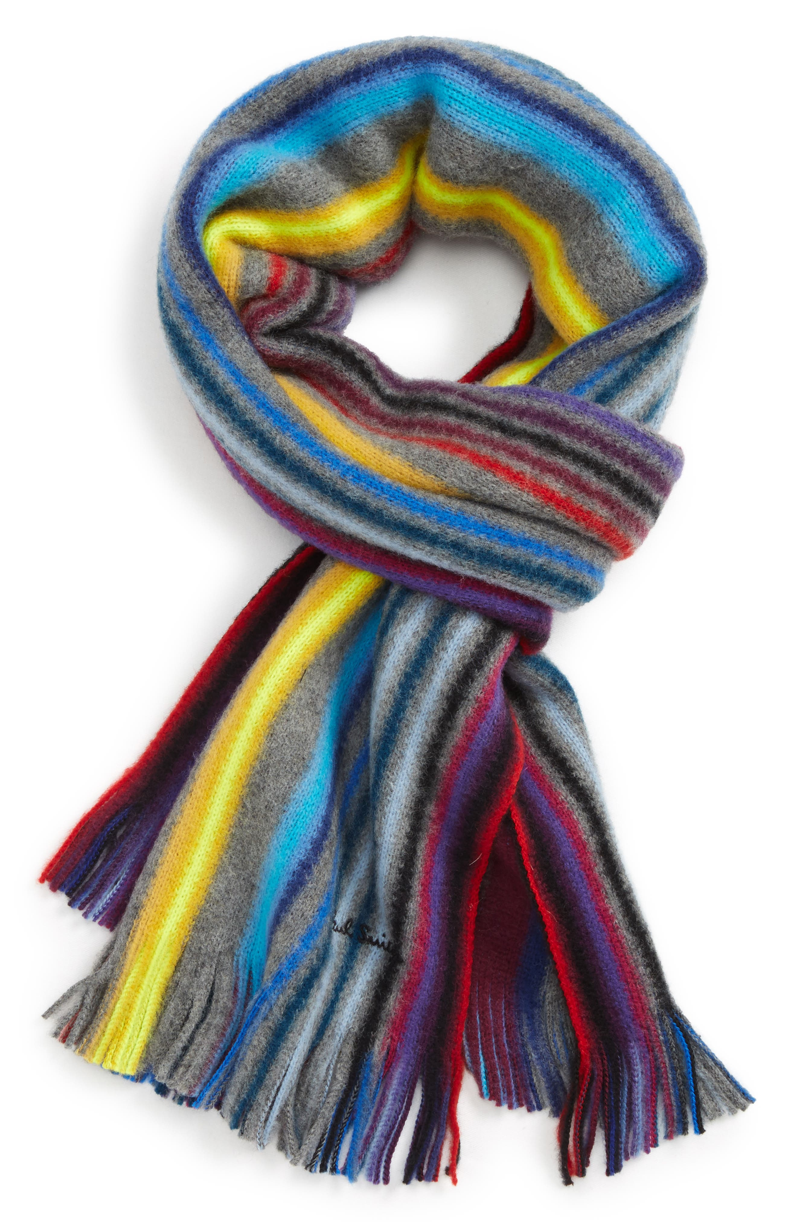 PAUL SMITH Neon Stripe Wool Scarf