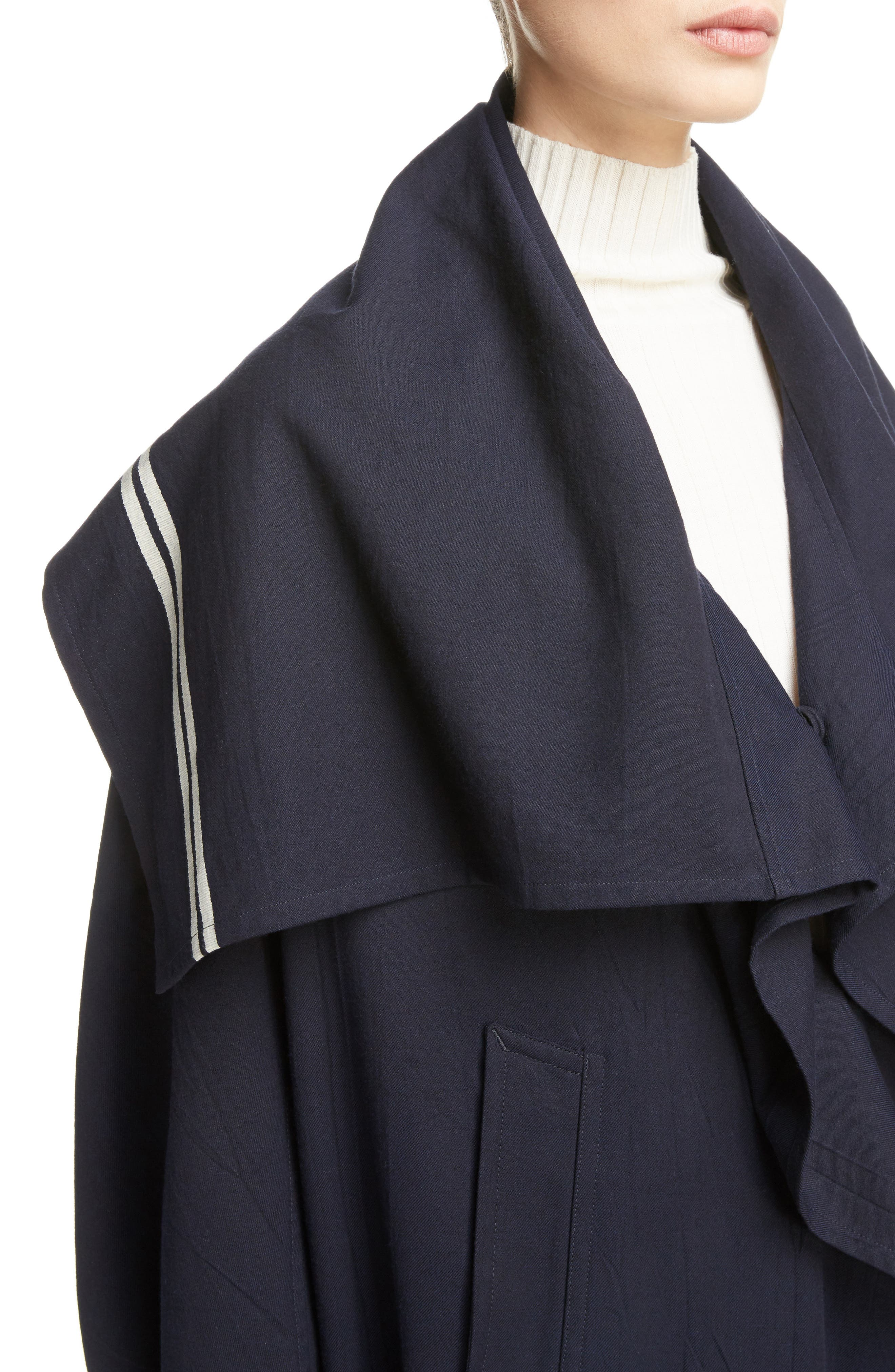 Drape Collar Coat,                             Alternate thumbnail 4, color,                             Navy