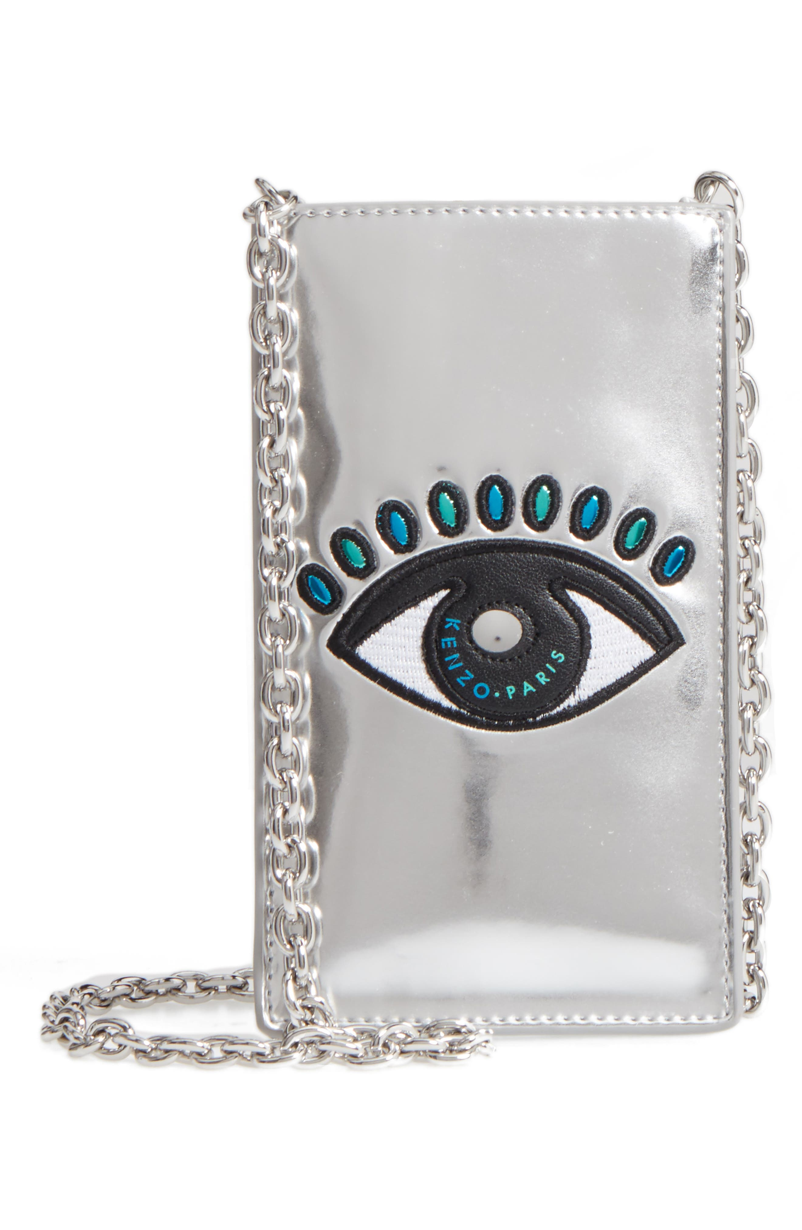 Alternate Image 1 Selected - KENZO Icons Eye Leather Phone Case on a Chain