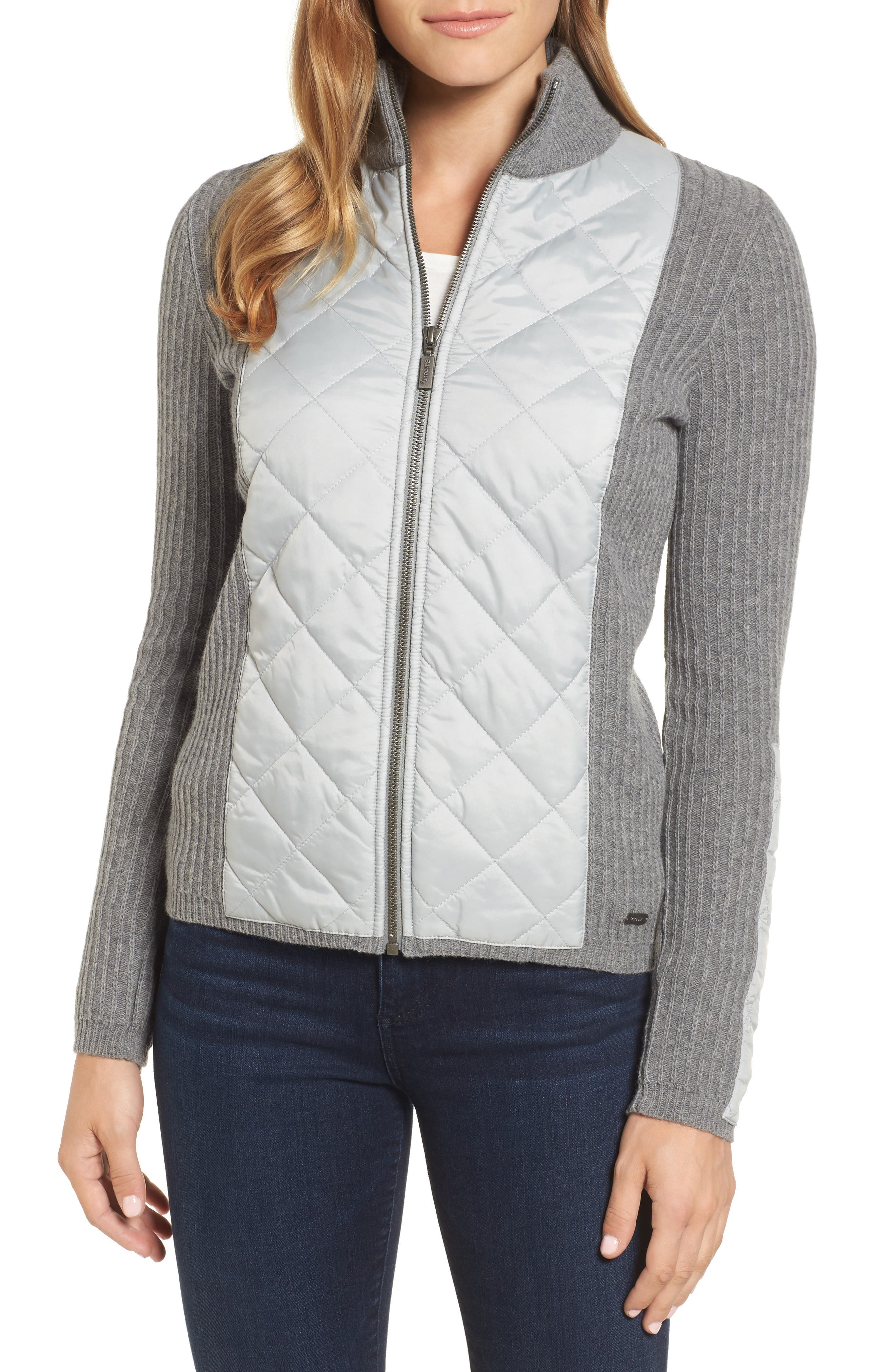 'Sporting' Zip Front Quilted Jacket,                         Main,                         color, Light Grey Marl
