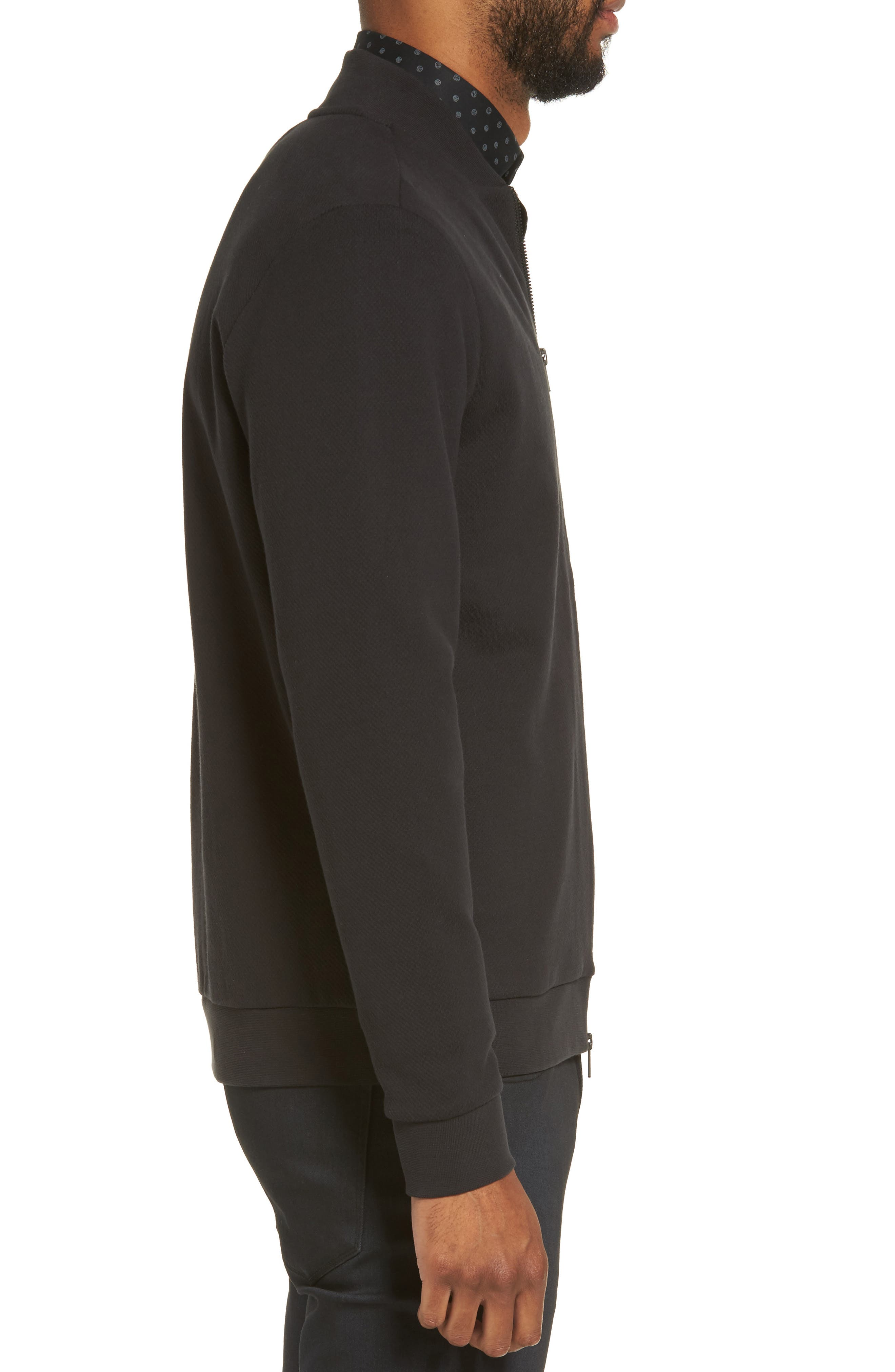 Zip Fleece Bomber Jacket,                             Alternate thumbnail 3, color,                             Black Caviar