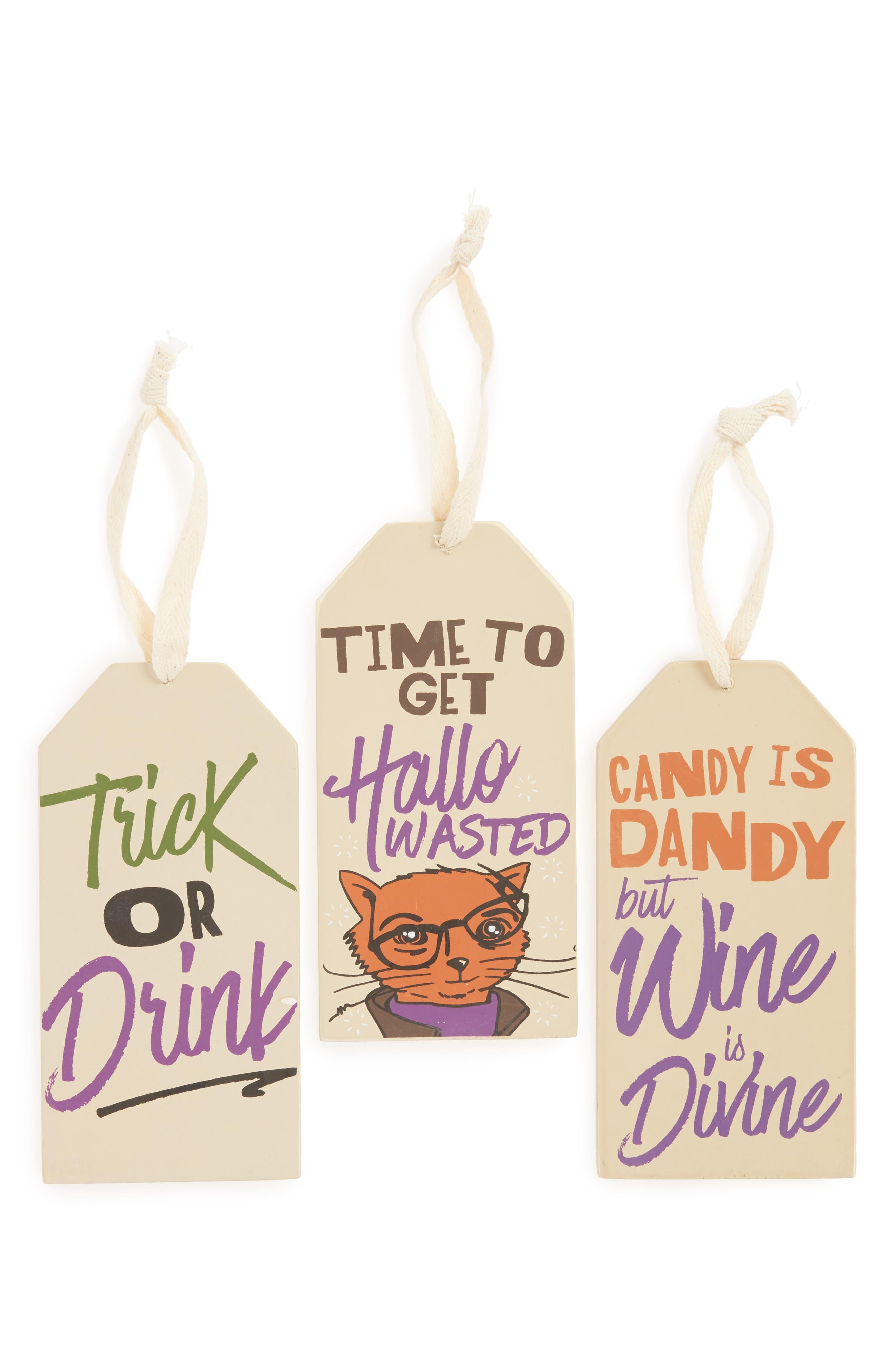 Set of 3 Halloween Wine Bottle Tags,                         Main,                         color, Orange