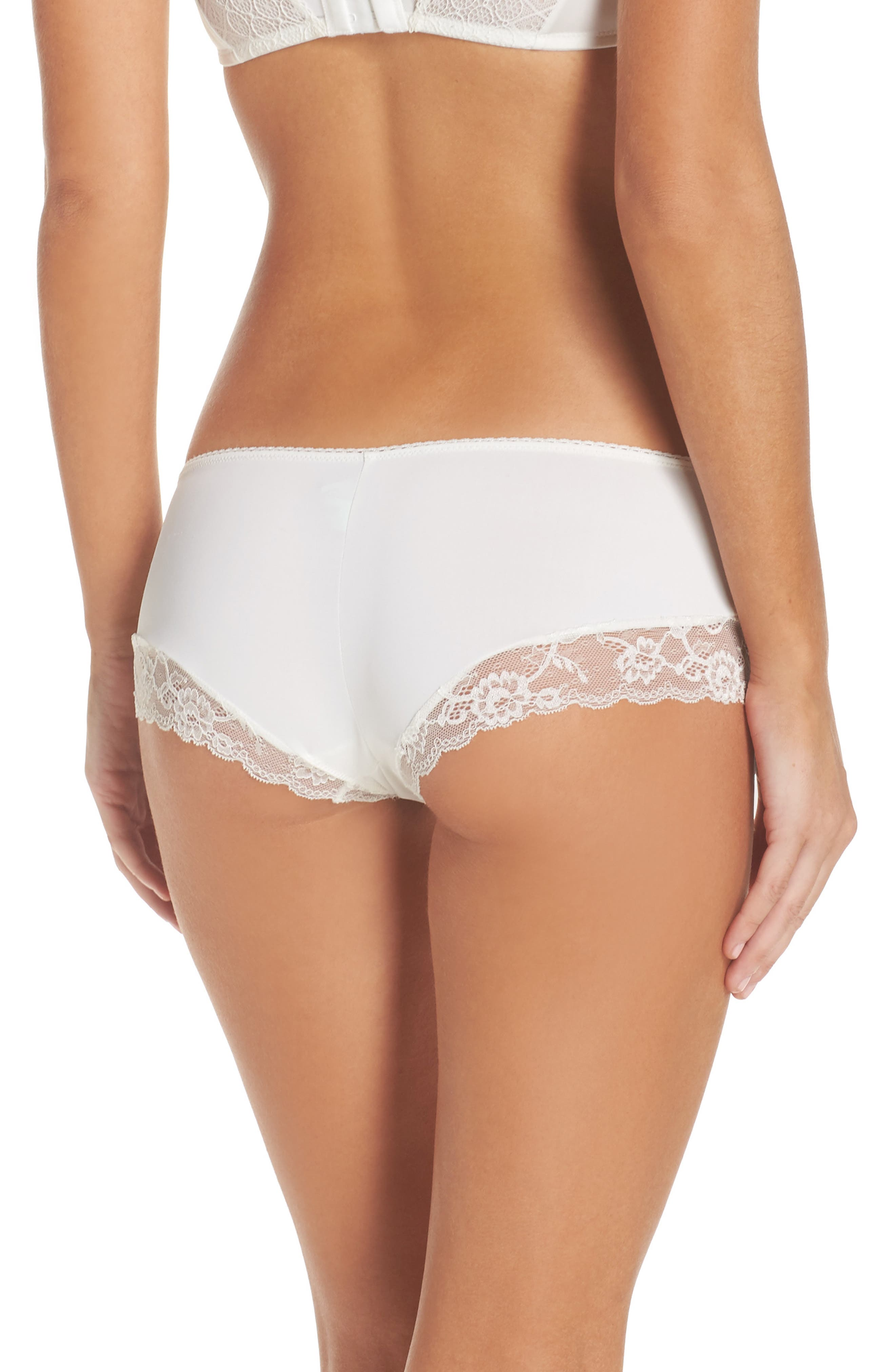 Honeydew Microfiber & Lace Hipster Panties,                             Alternate thumbnail 2, color,                             Ivory