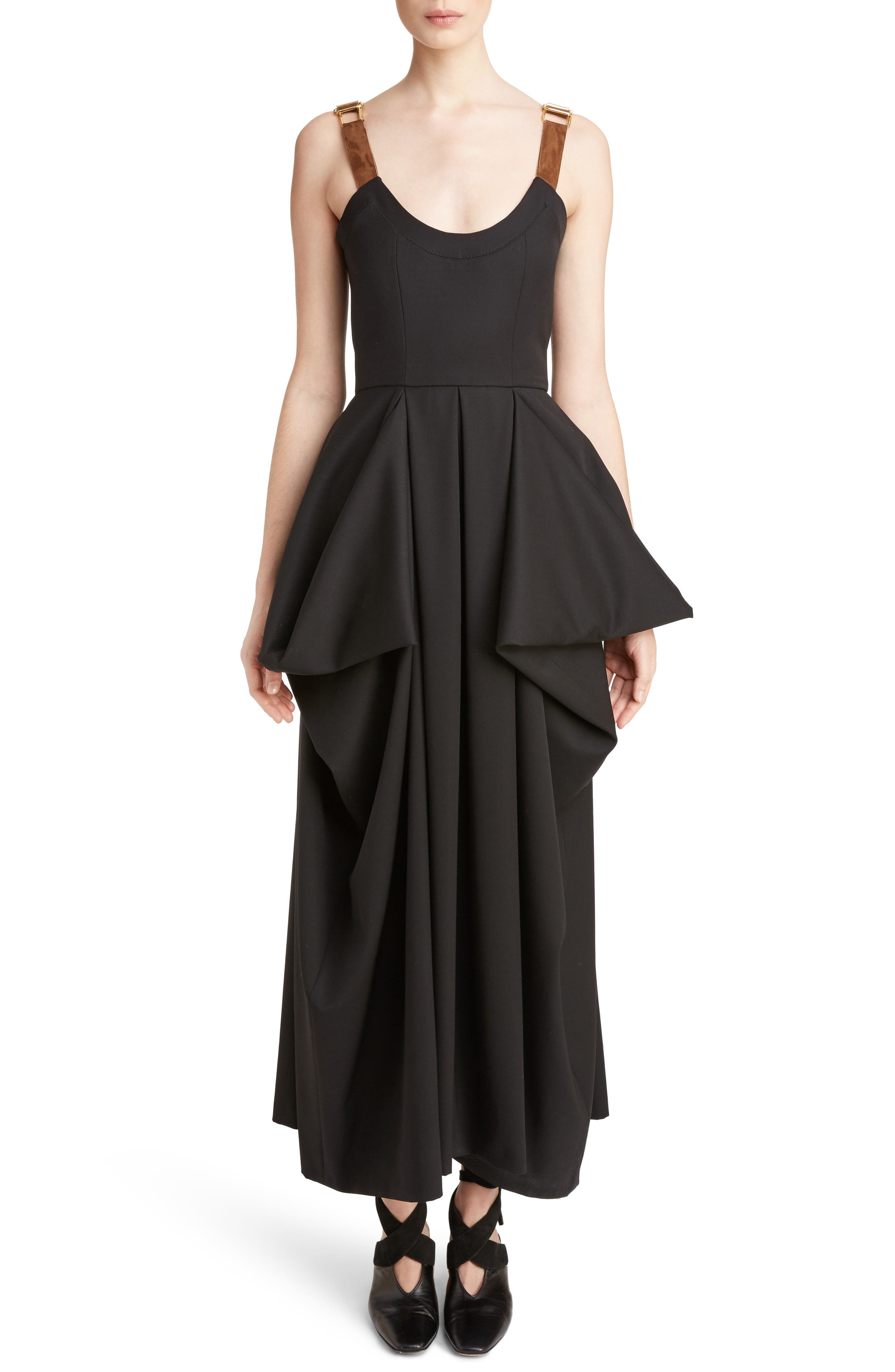 J.W.ANDERSON Drape Pocket Wool Dress,                             Main thumbnail 1, color,                             Black