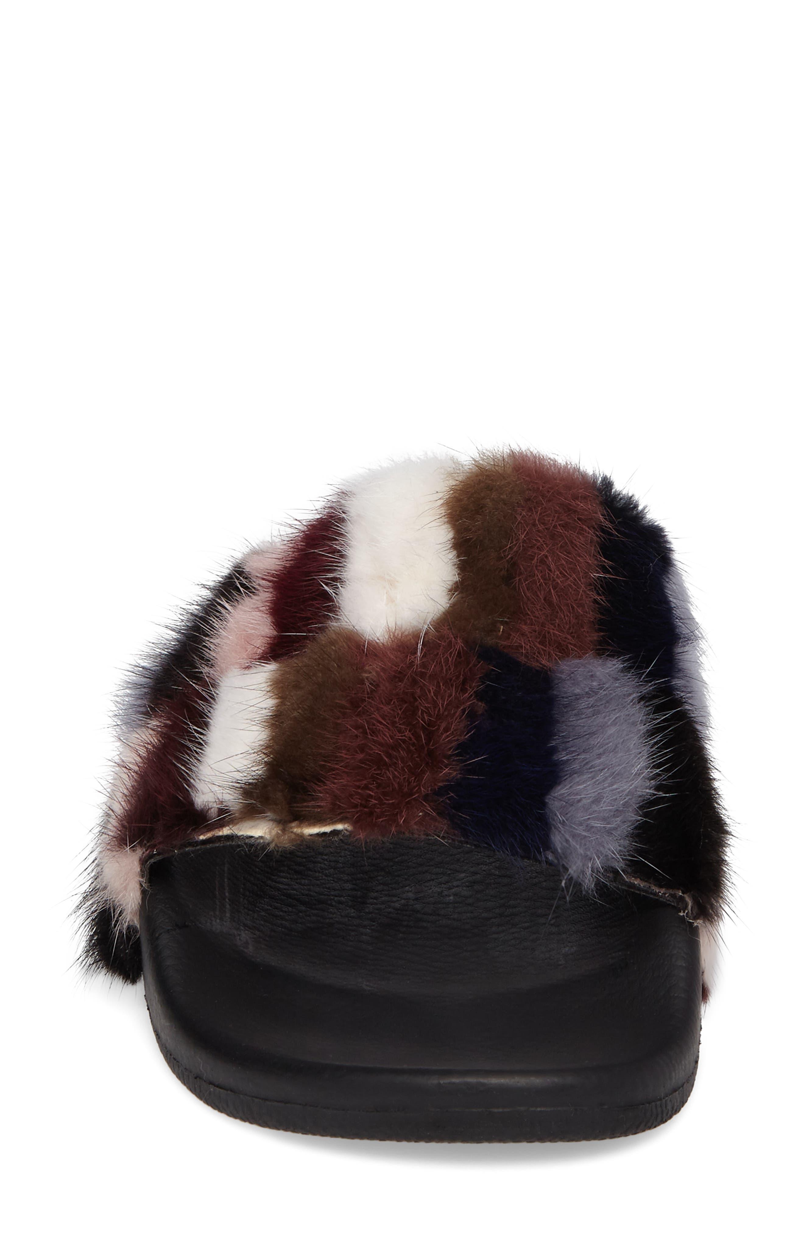 Sammi Genuine Fur Slide Sandal,                             Alternate thumbnail 4, color,                             Multi Fur