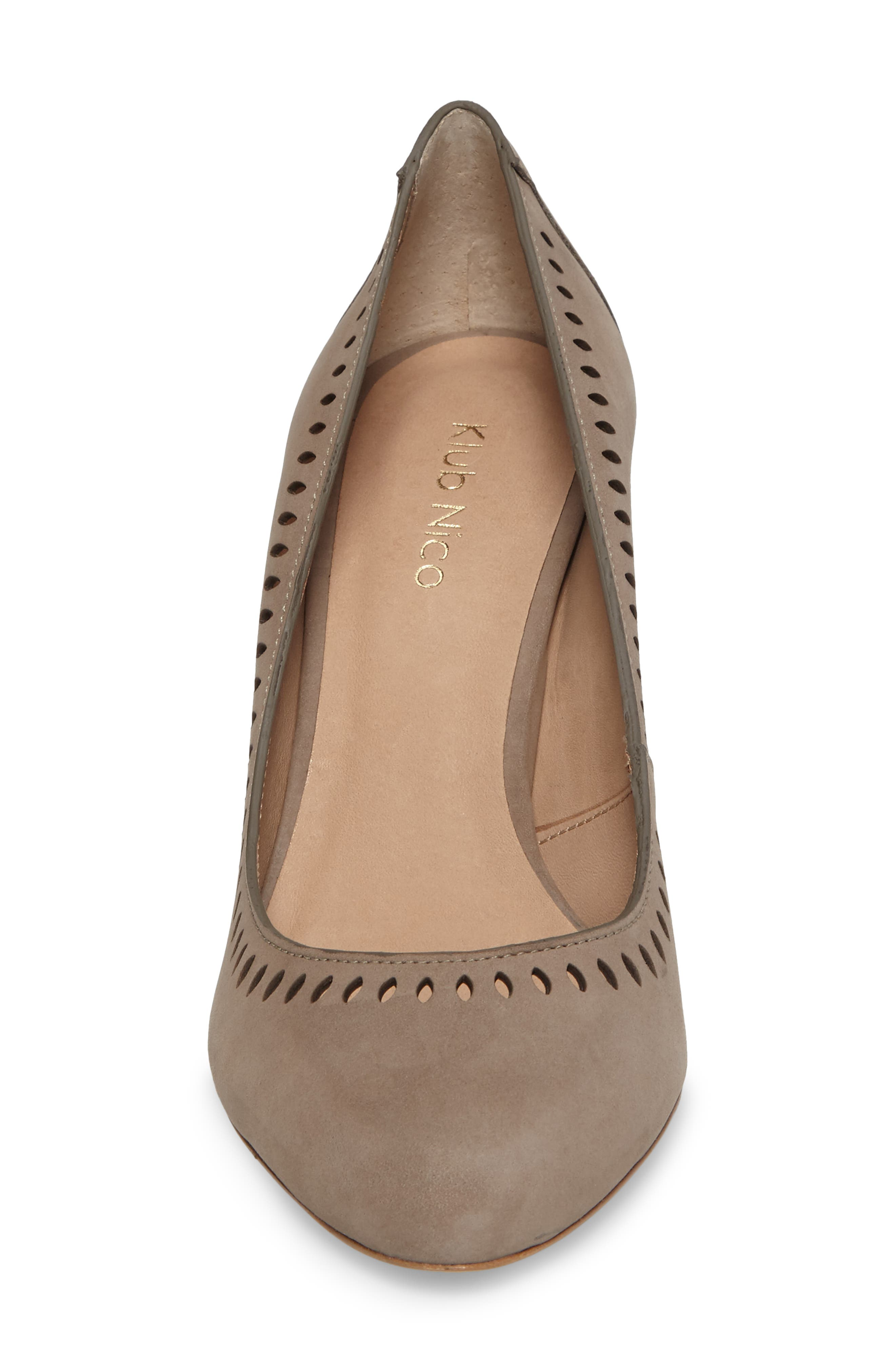 Beleza Perforated Pump,                             Alternate thumbnail 4, color,                             Taupe Nubuck Leather
