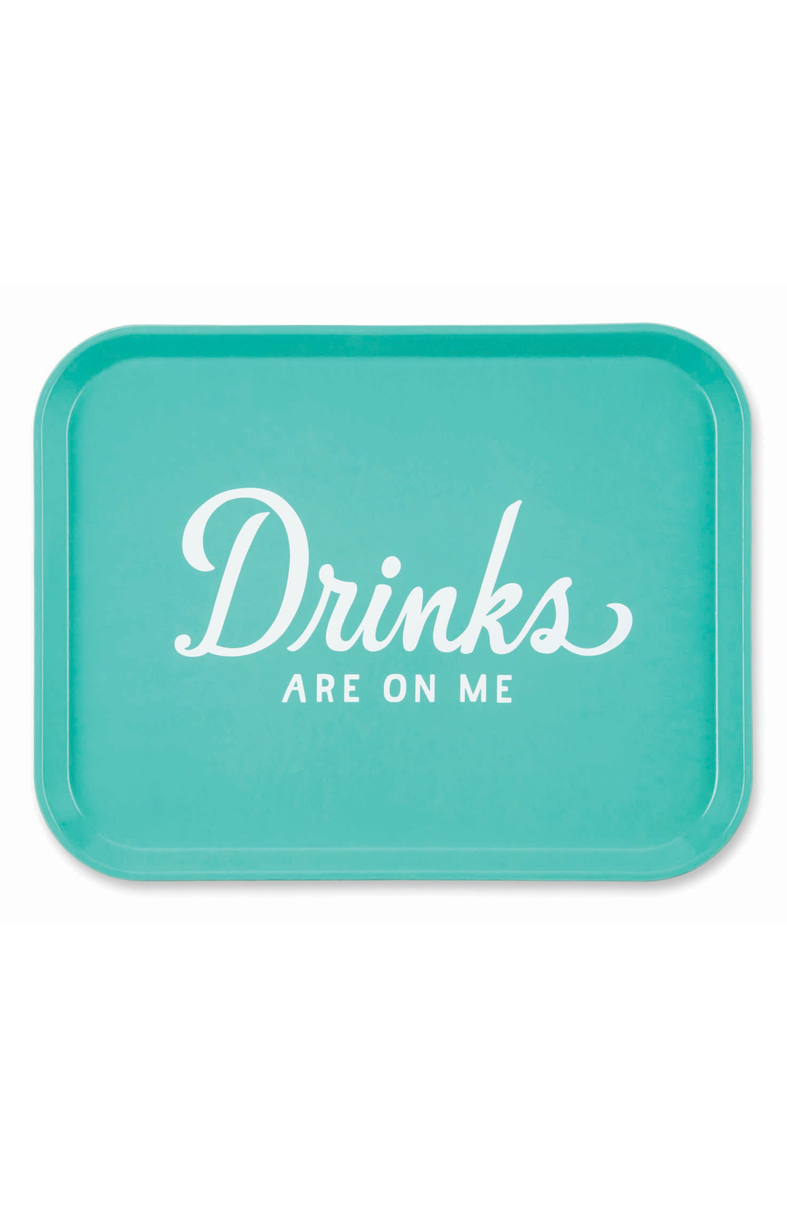 Drinks Are on Me Tray,                         Main,                         color, Teal