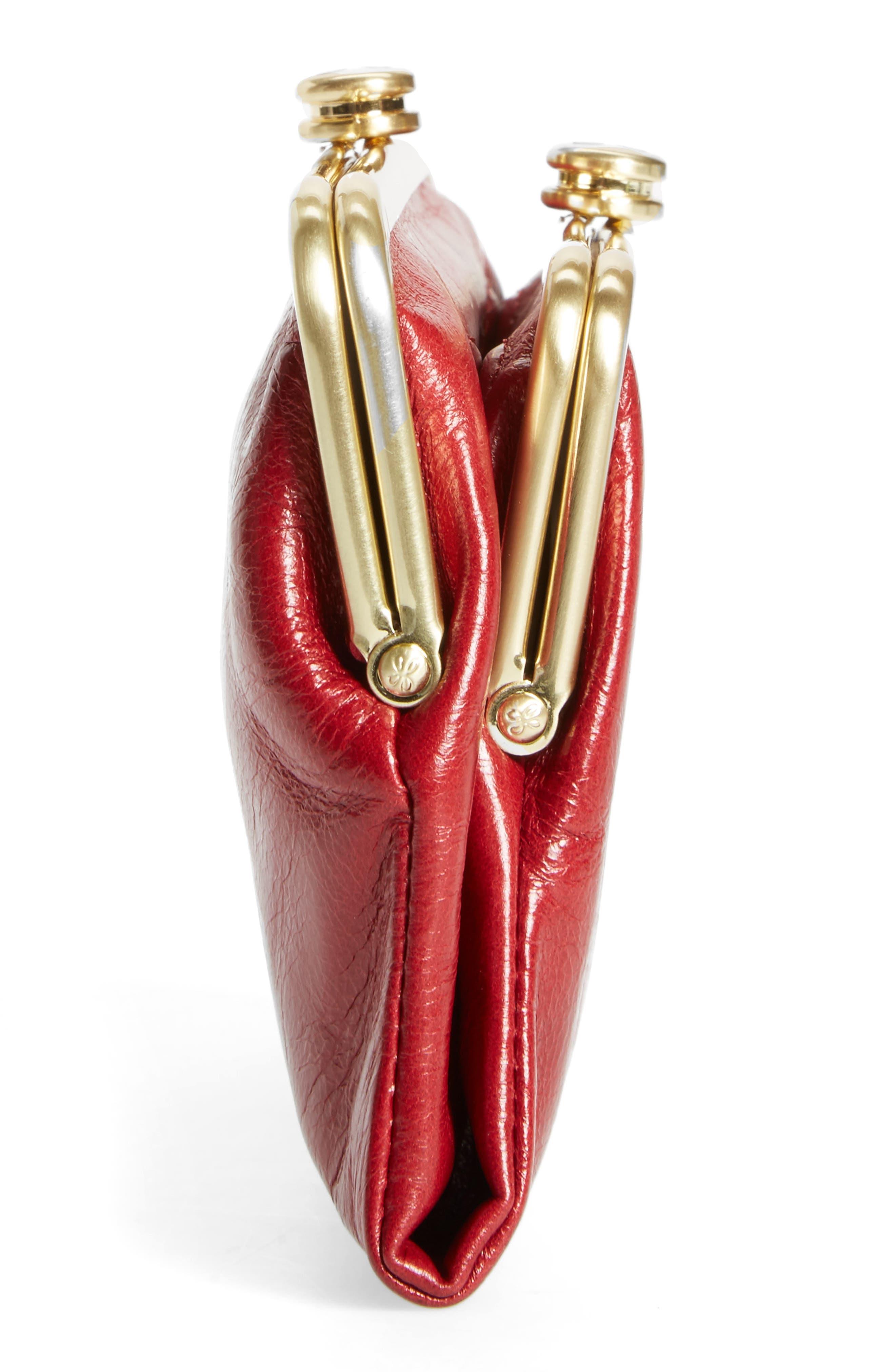 Suzette Calfskin Leather Wallet,                             Alternate thumbnail 4, color,                             Cardinal