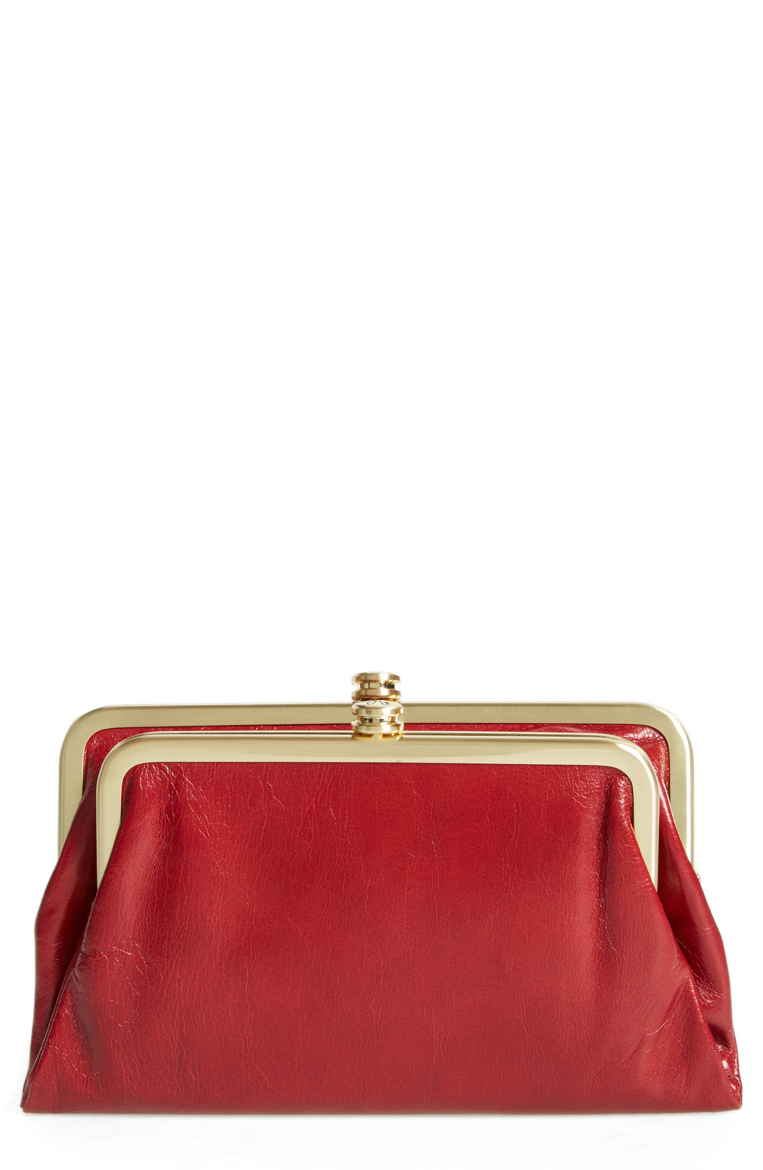 Suzette Calfskin Leather Wallet,                         Main,                         color, Cardinal