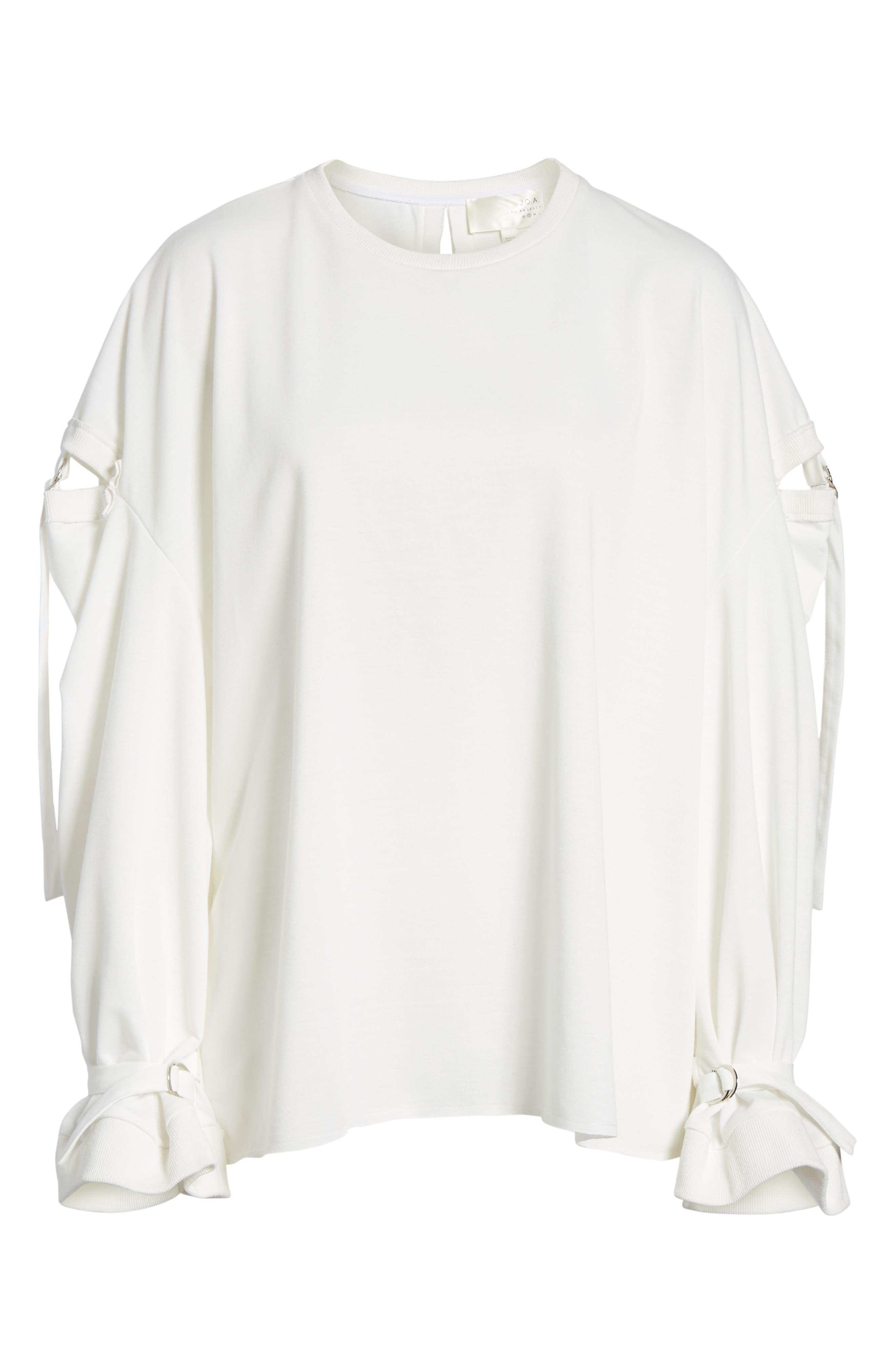 Cutout Detail Sweatshirt,                             Alternate thumbnail 6, color,                             White