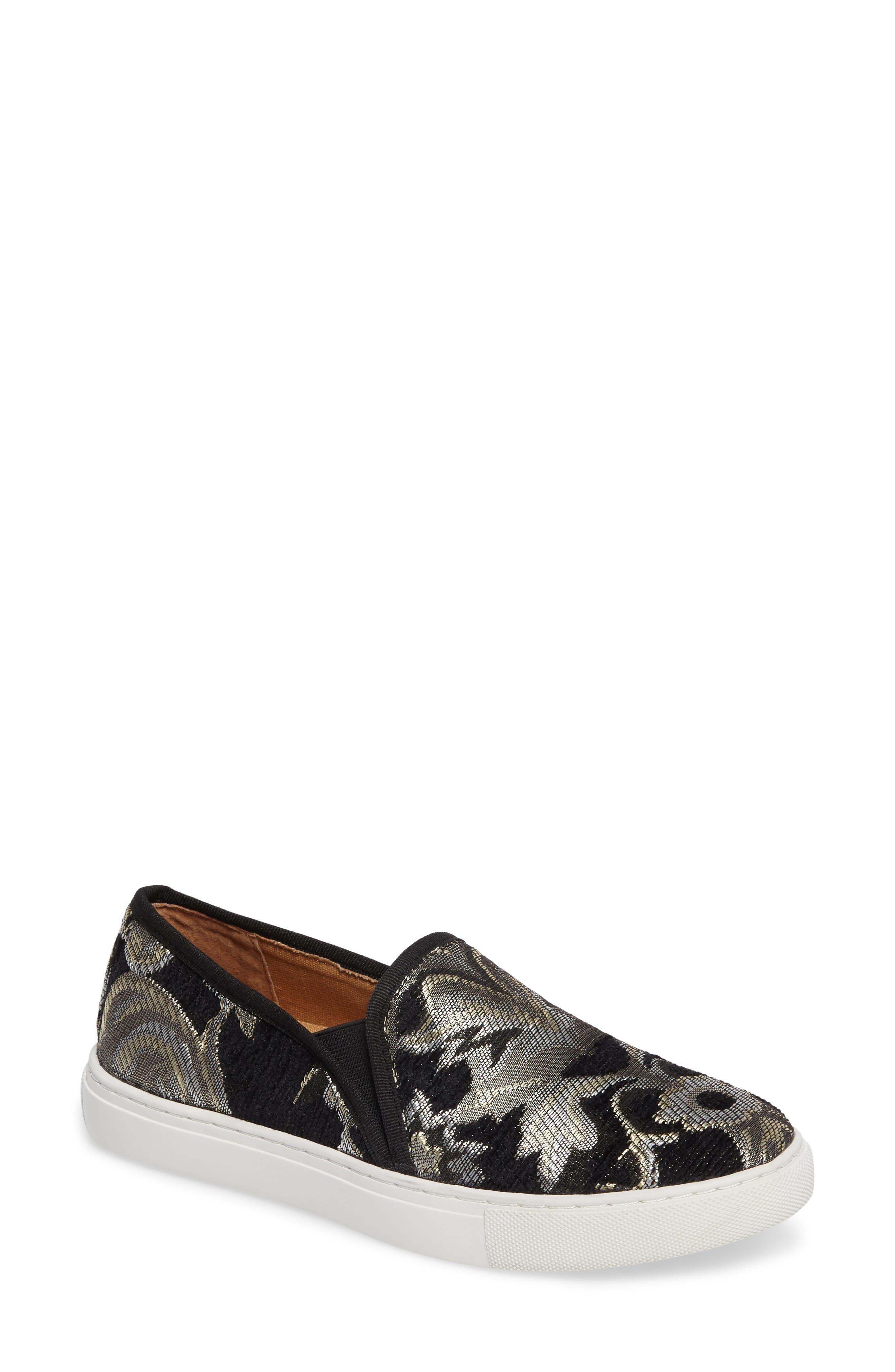 Skipper Slip-On Sneaker,                             Main thumbnail 1, color,                             Black Brocade Leather