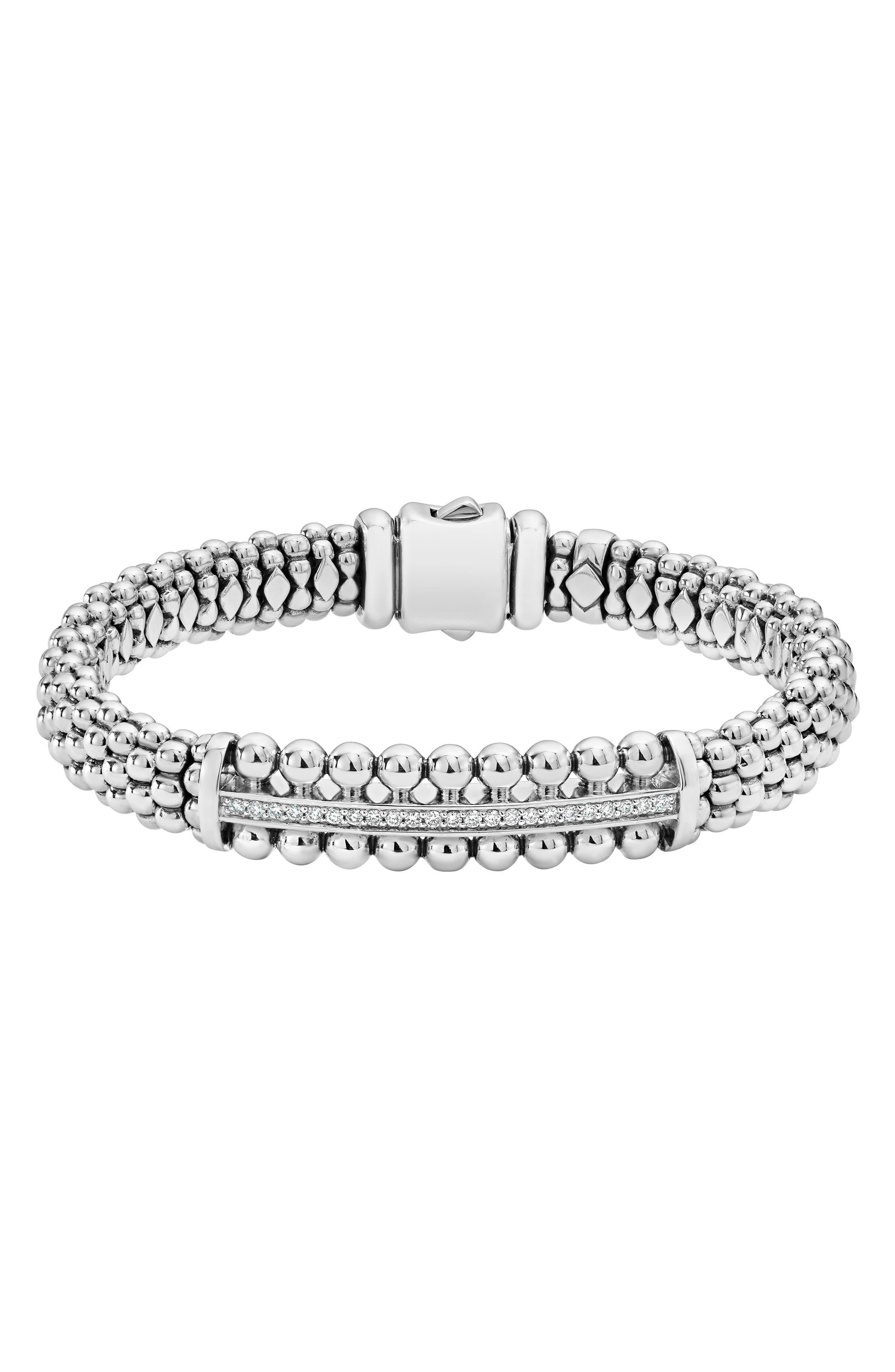 Spark Diamond Station Bracelet,                             Main thumbnail 1, color,                             Diamond