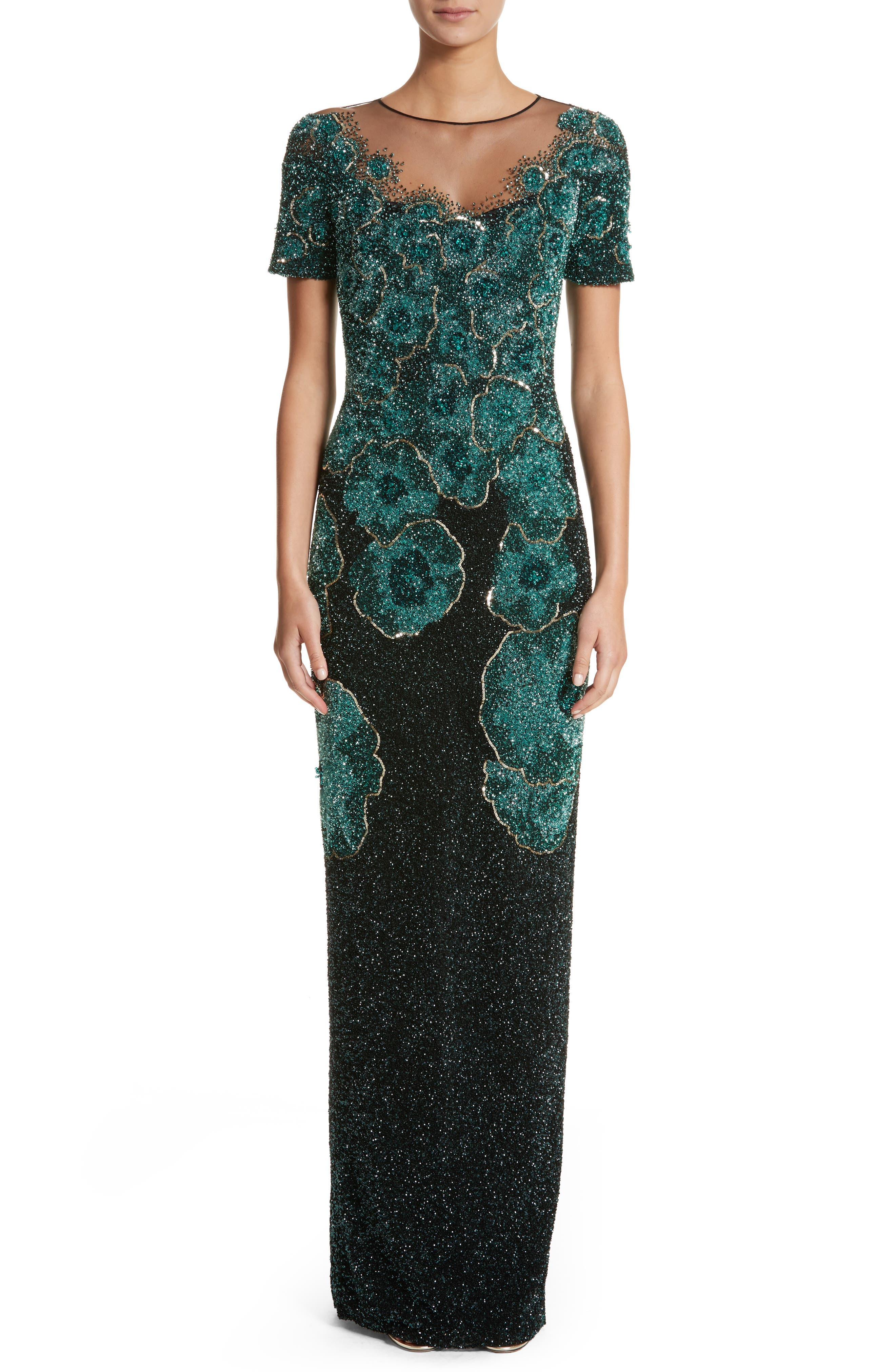 Pamella Roland Floral Sequin Column Gown