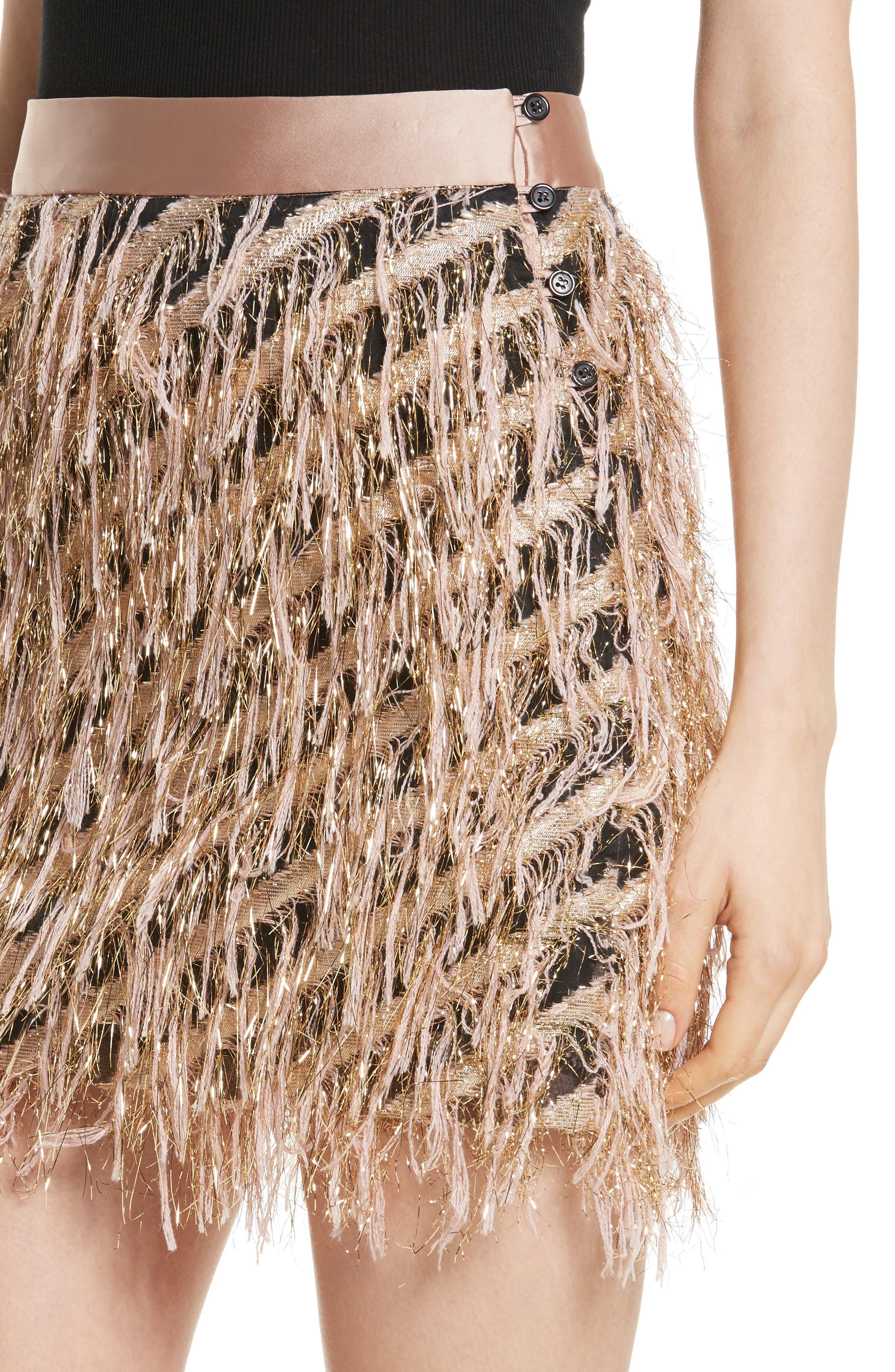 Fil Coupé Diagonal Stripe Miniskirt,                             Alternate thumbnail 4, color,                             Blush