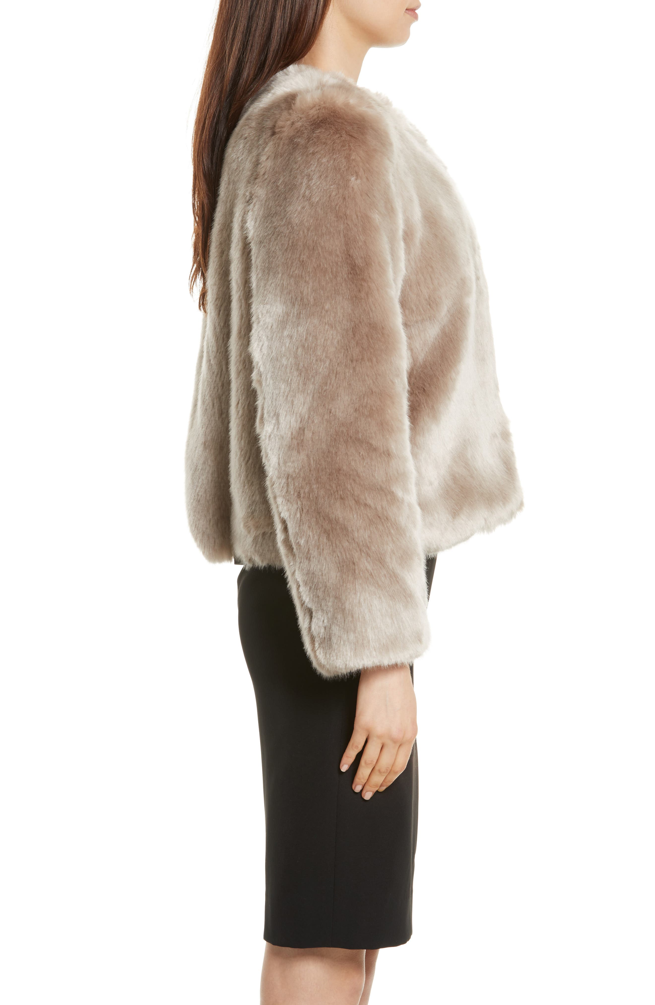 Faux Fur Jacket,                             Alternate thumbnail 3, color,                             Mink