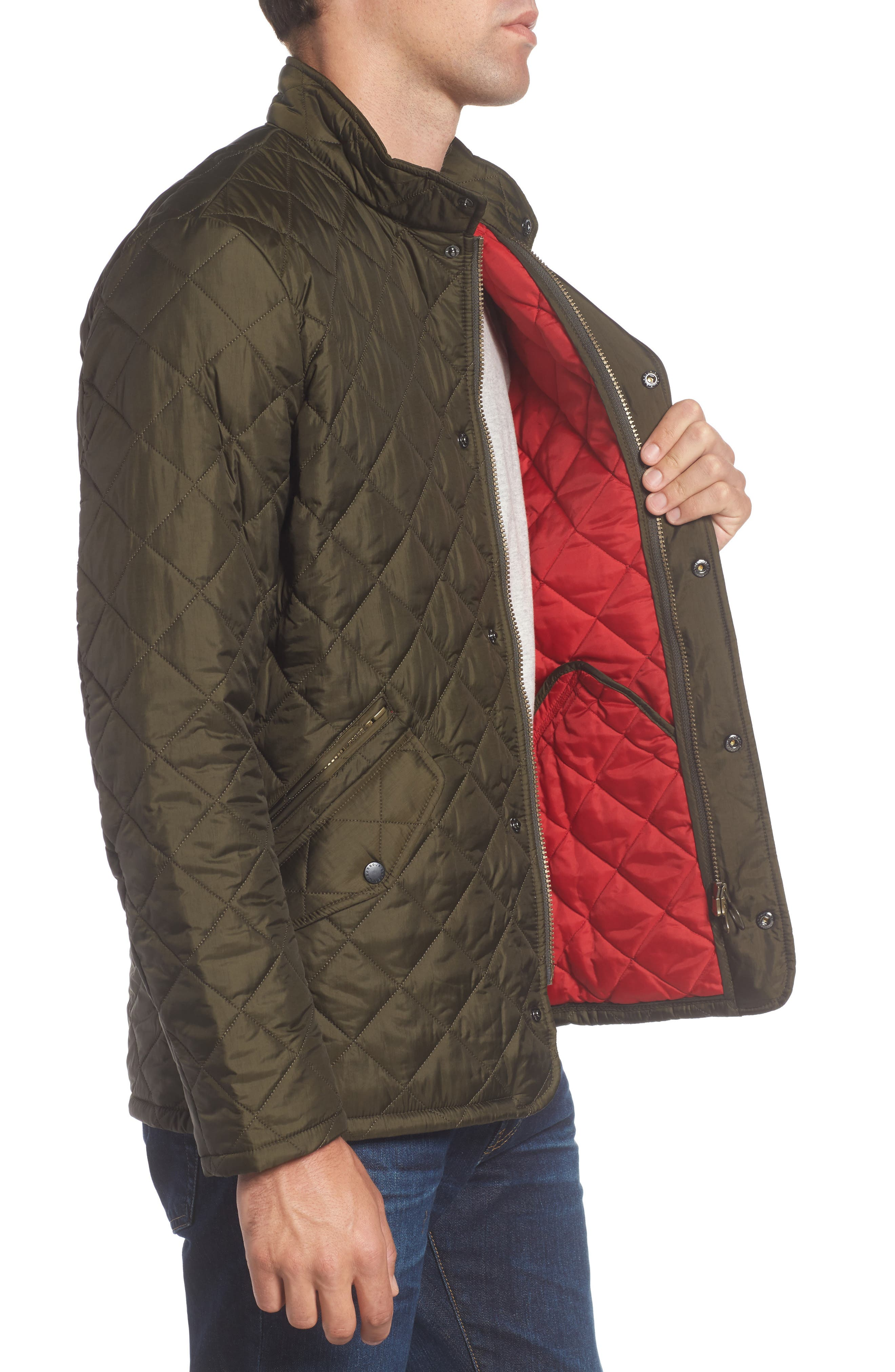 Flyweight Chelsea Quilted Jacket,                             Alternate thumbnail 3, color,                             Olive