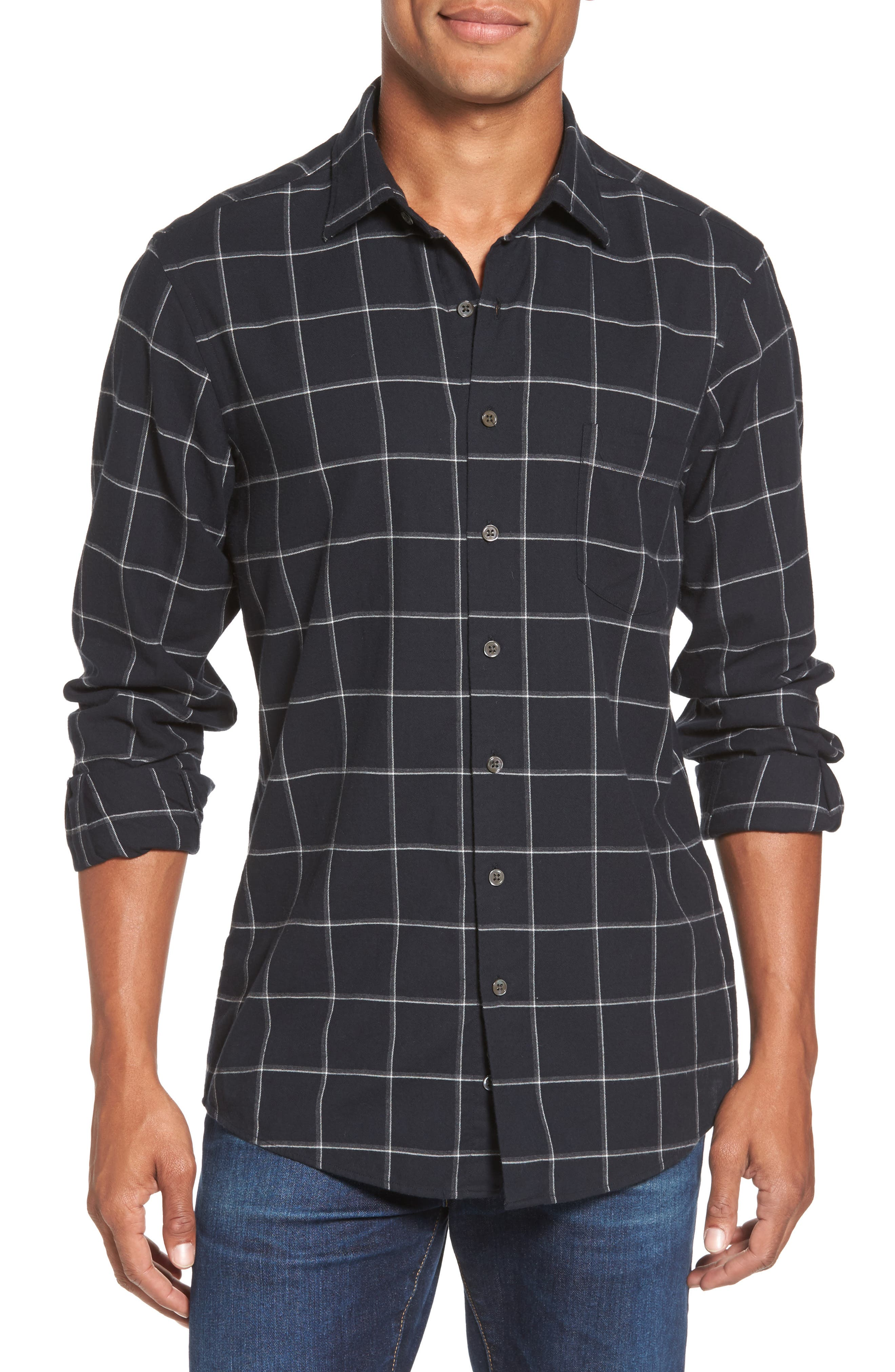 RODD & GUNN Darlington Sports Fit Windowpane Sport Shirt