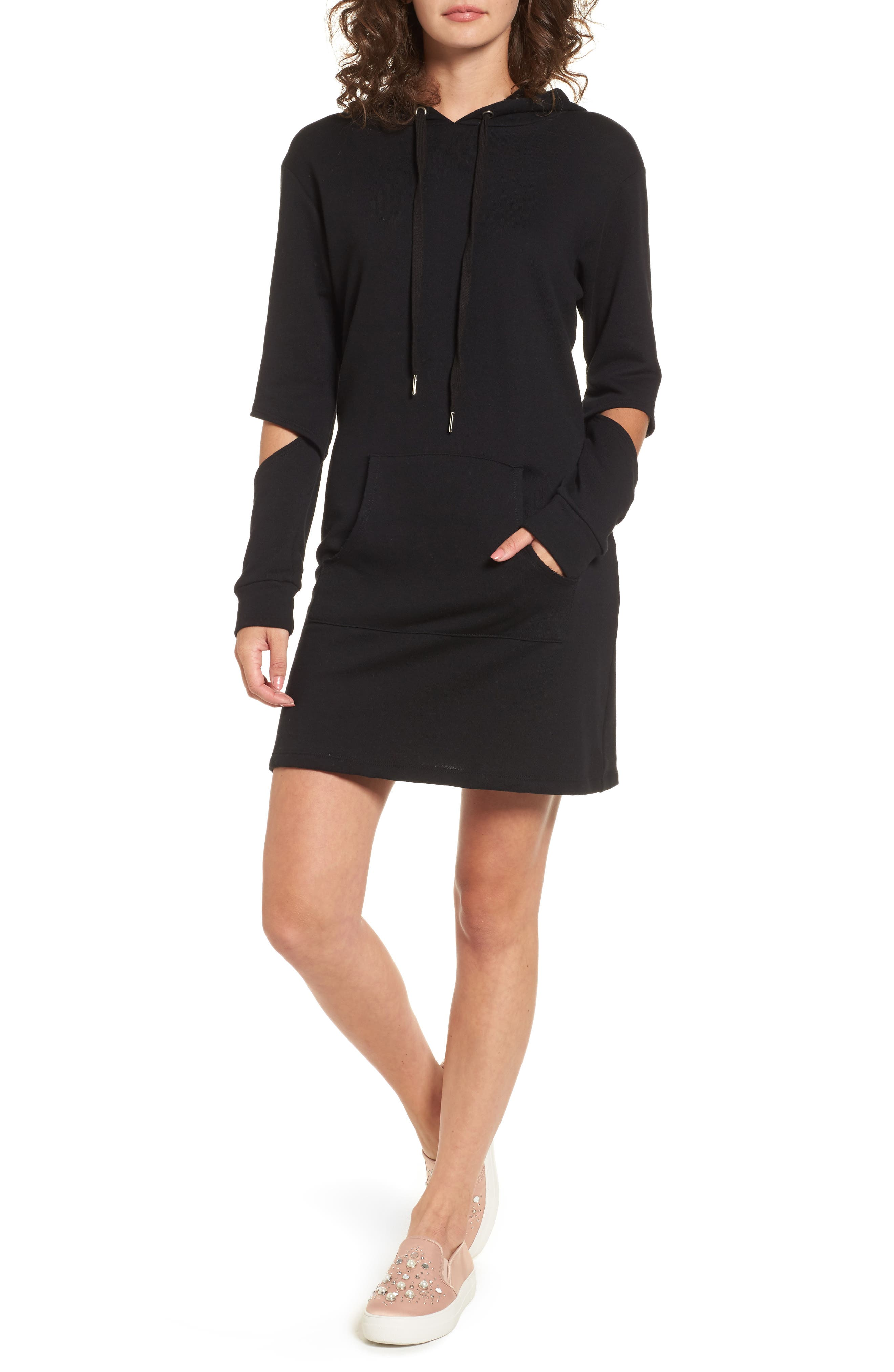 Cutout Sleeve Hoodie Dress,                         Main,                         color, Black