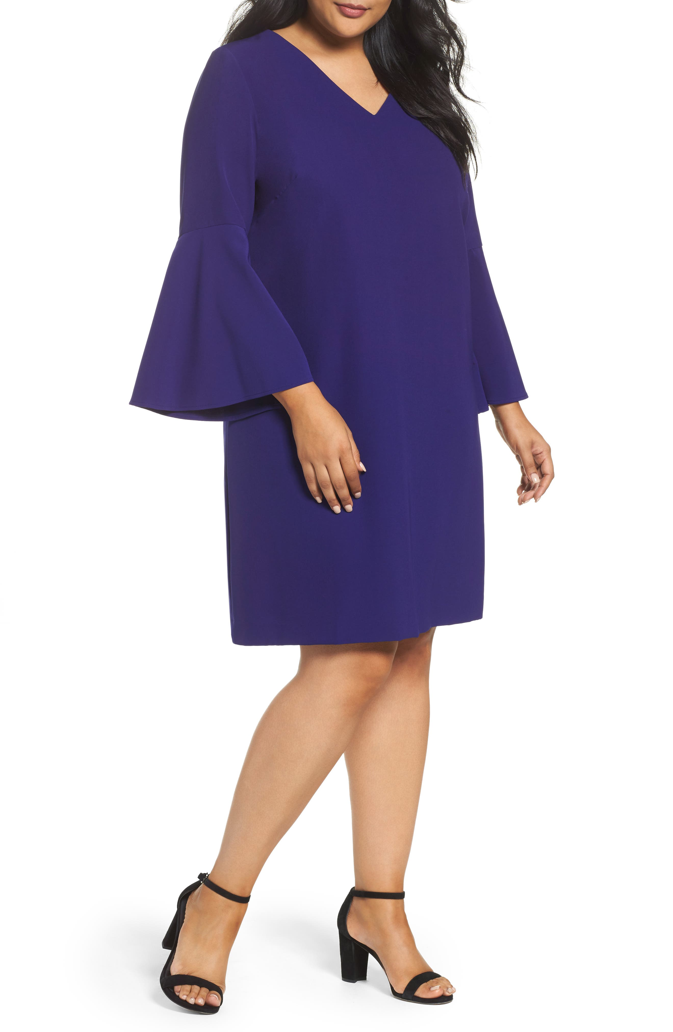 Bell Sleeve Crepe Shift Dress,                         Main,                         color, Violet