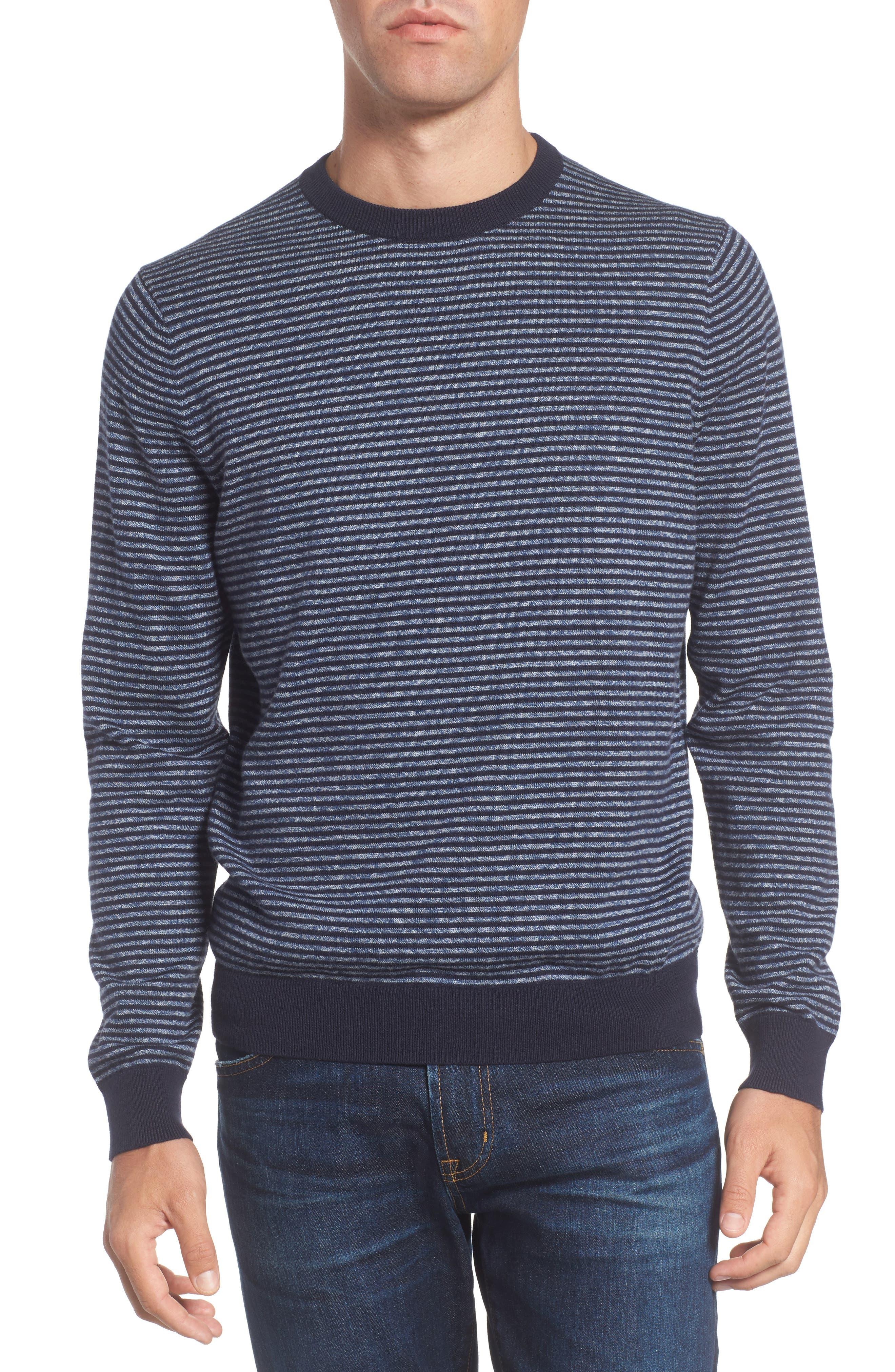 Stripe Cotton & Cashmere Crewneck Sweater,                             Main thumbnail 1, color,                             Navy Iris Jaspe Stripe