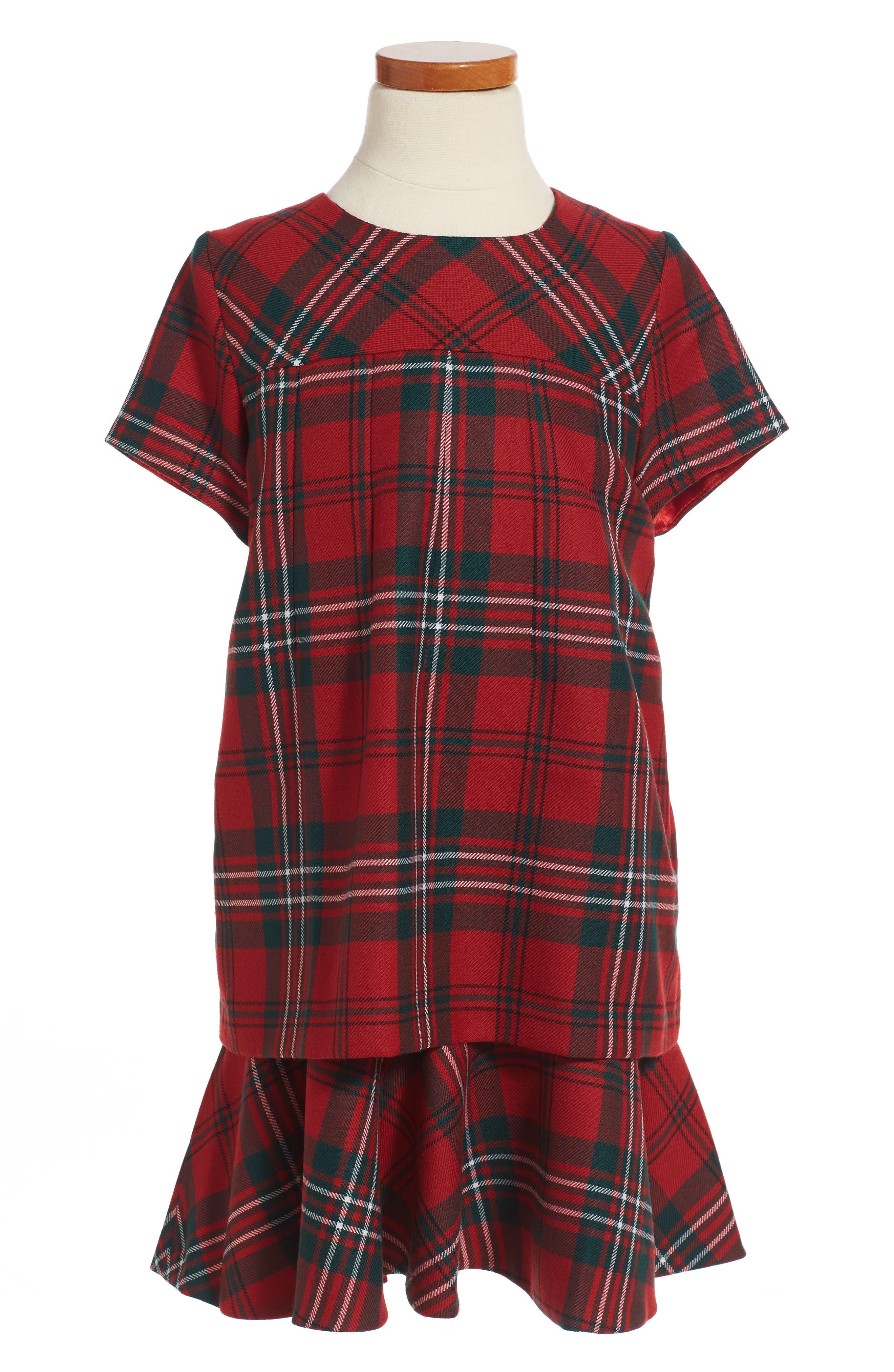 Plaid Wool Dress,                         Main,                         color, Ruby