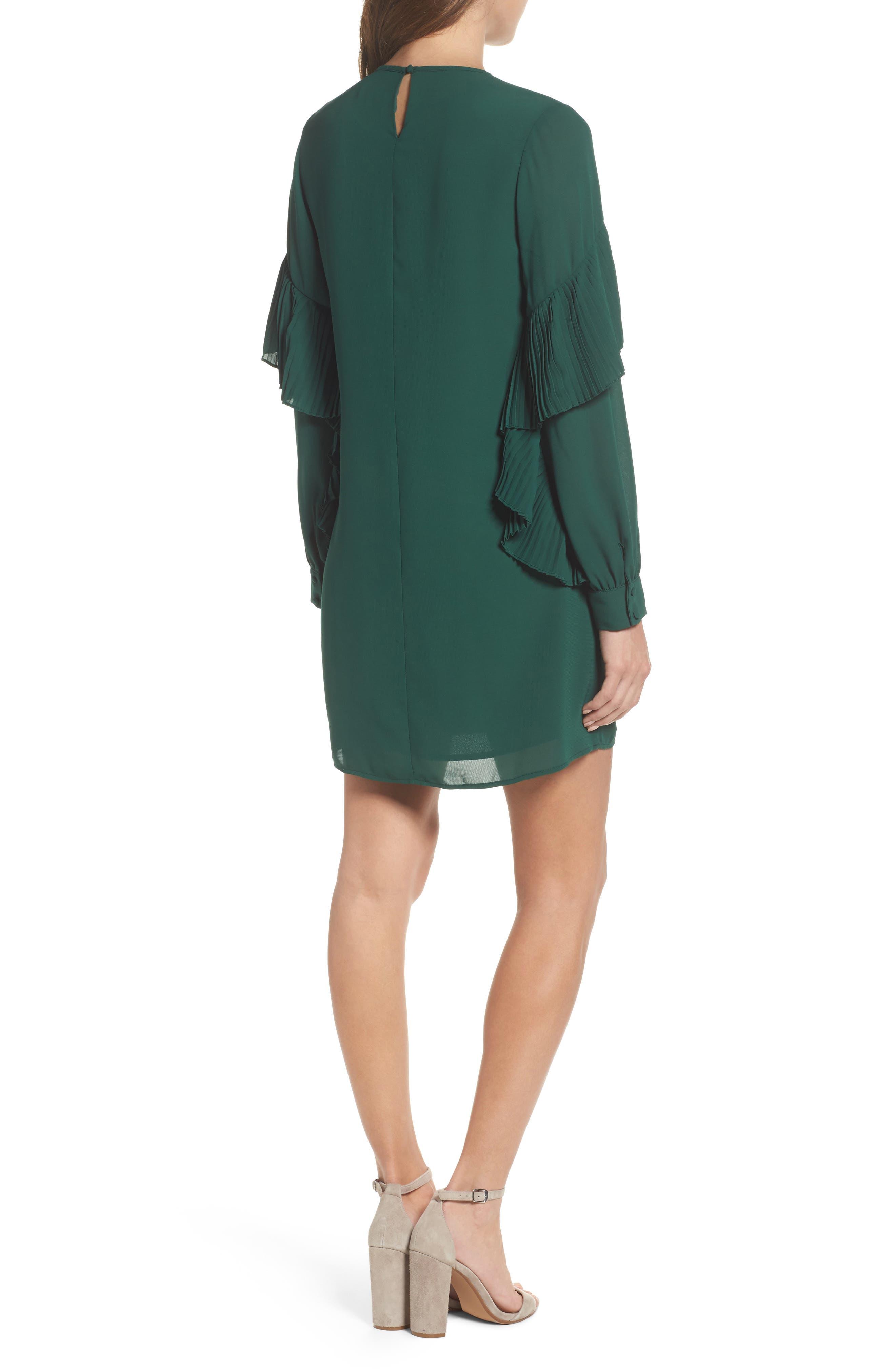Ruffle Shift Dress,                             Alternate thumbnail 2, color,                             Green Evergreen