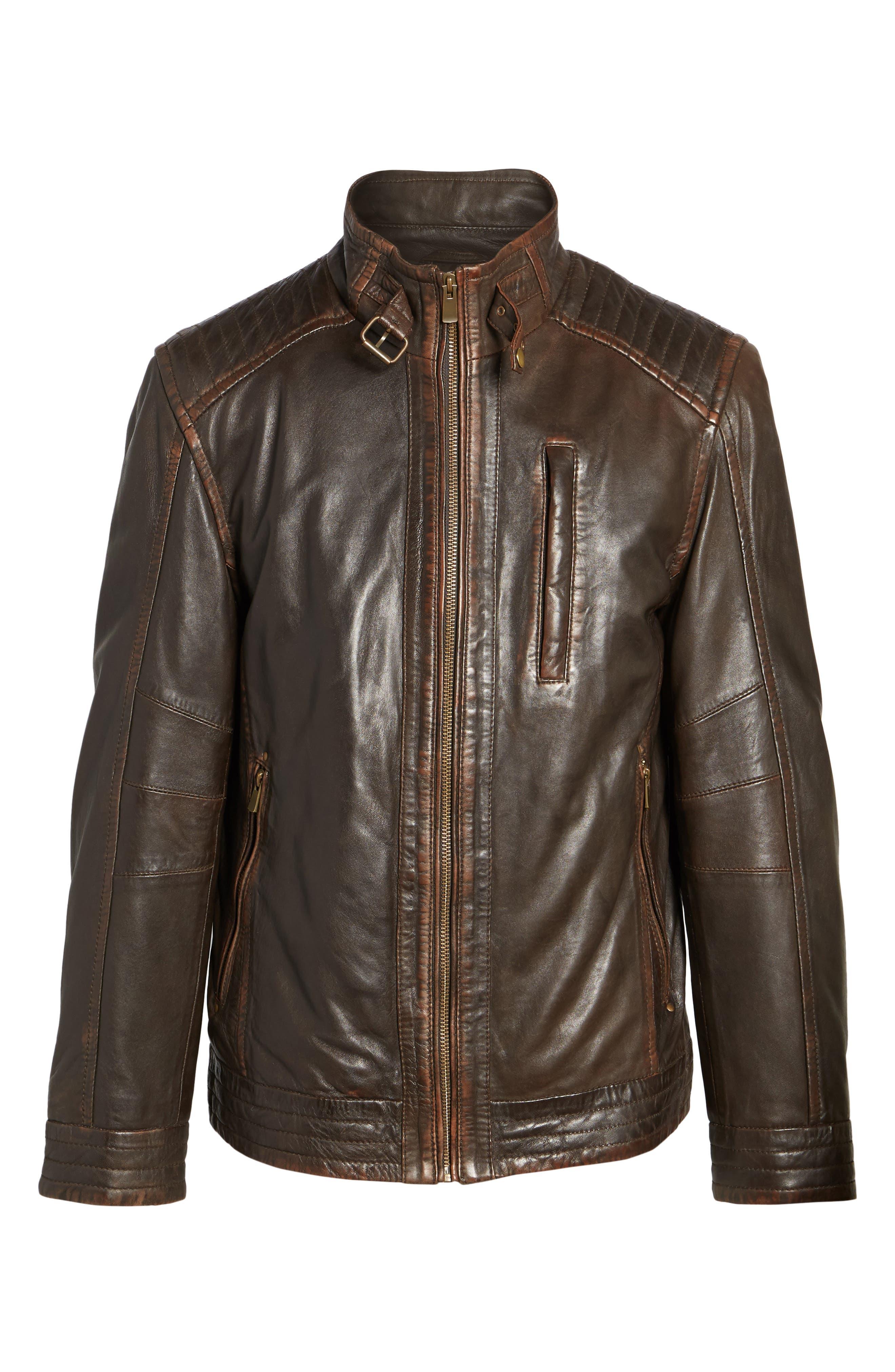 Alternate Image 6  - Missani Le Collezioni Leather Jacket
