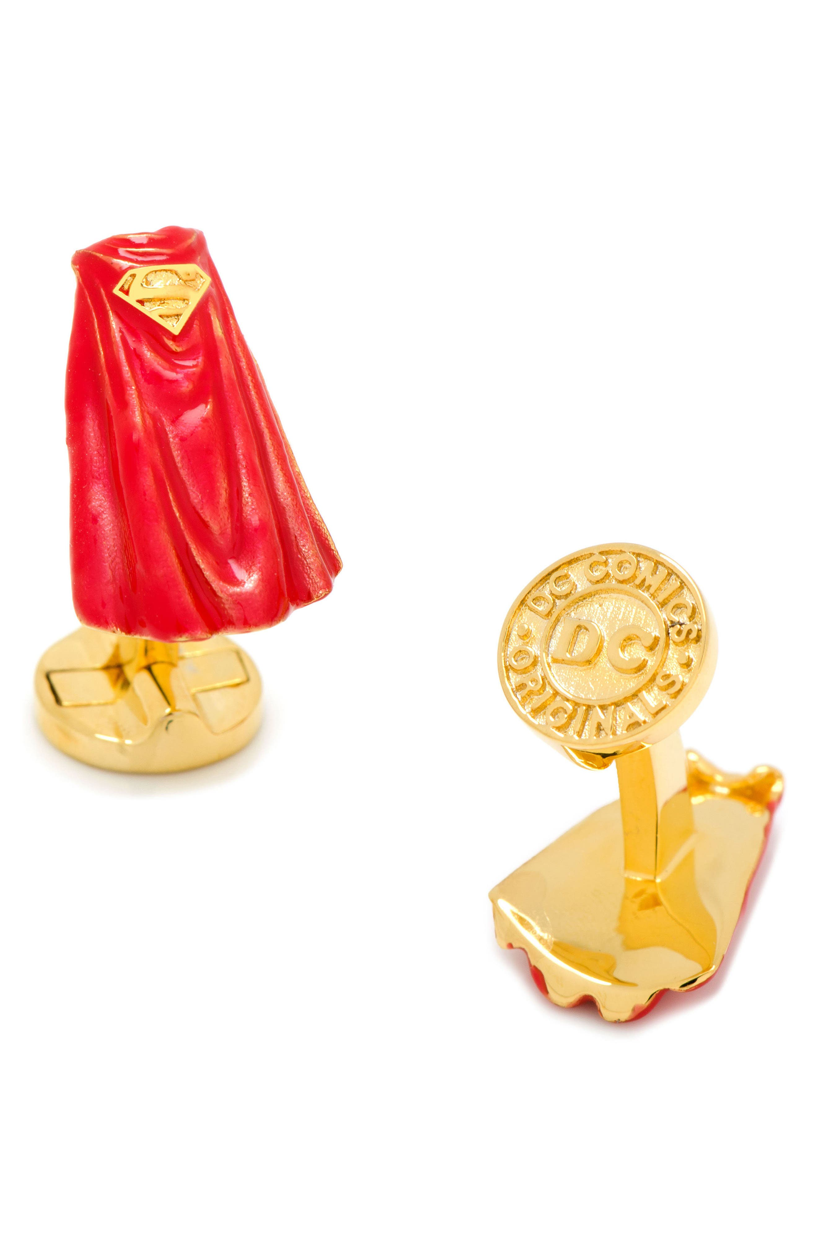 3D Superman Cape Cuff Links,                         Main,                         color, Red