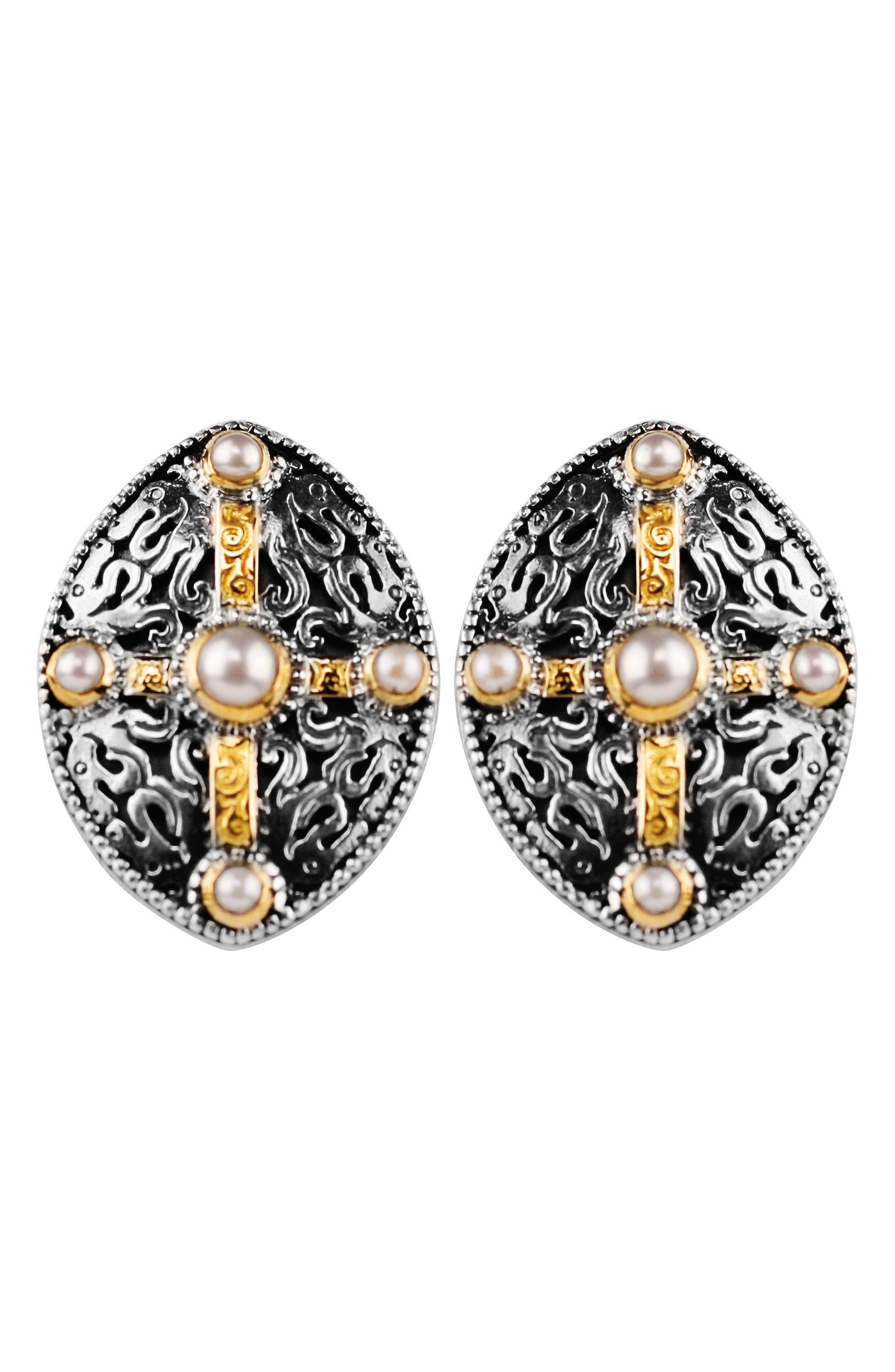 Konstantino Pearl Classics Shield Earrings