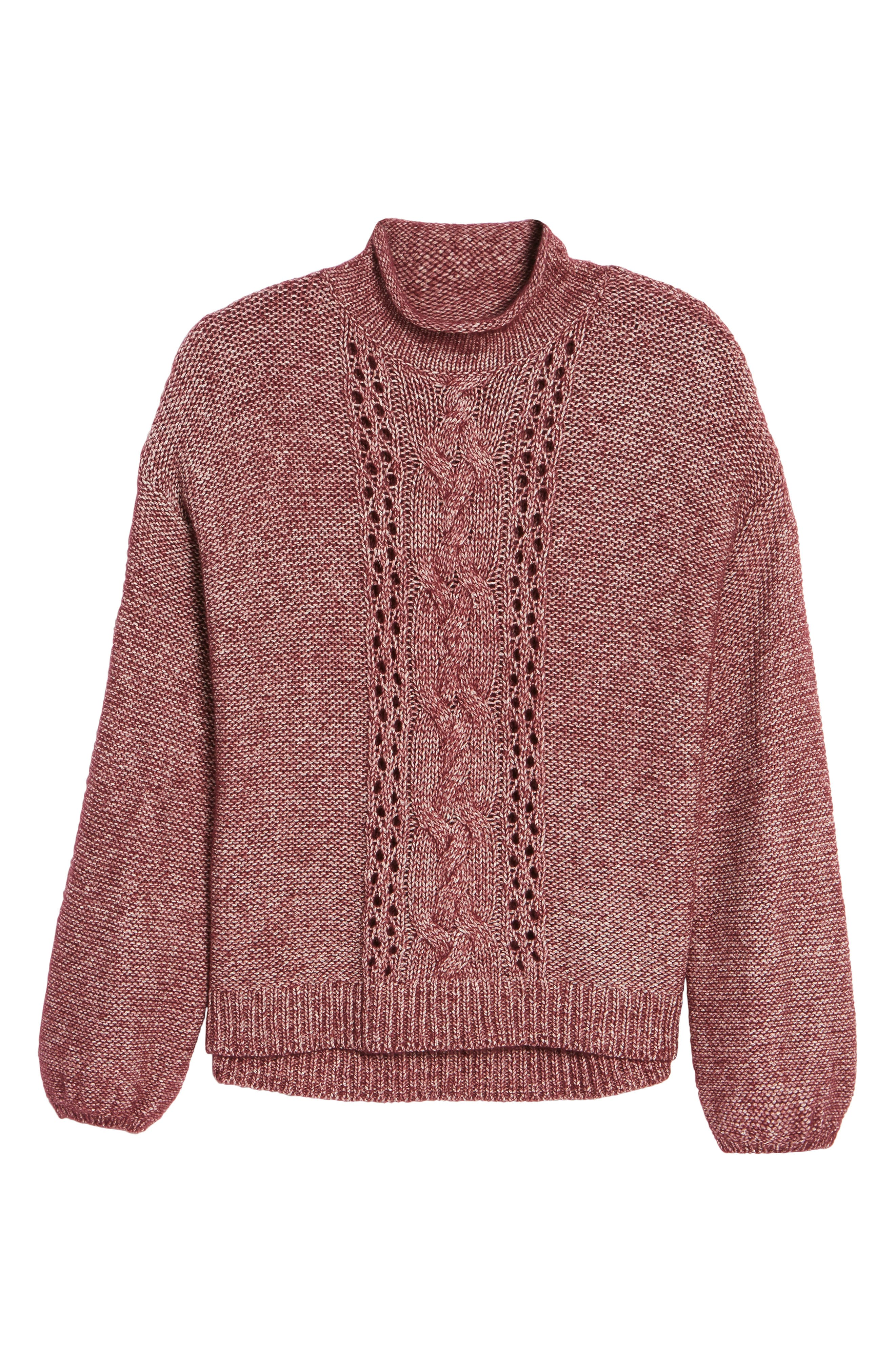 Open Cable Knit Funnel Neck Sweater,                             Alternate thumbnail 6, color,                             Burgundy