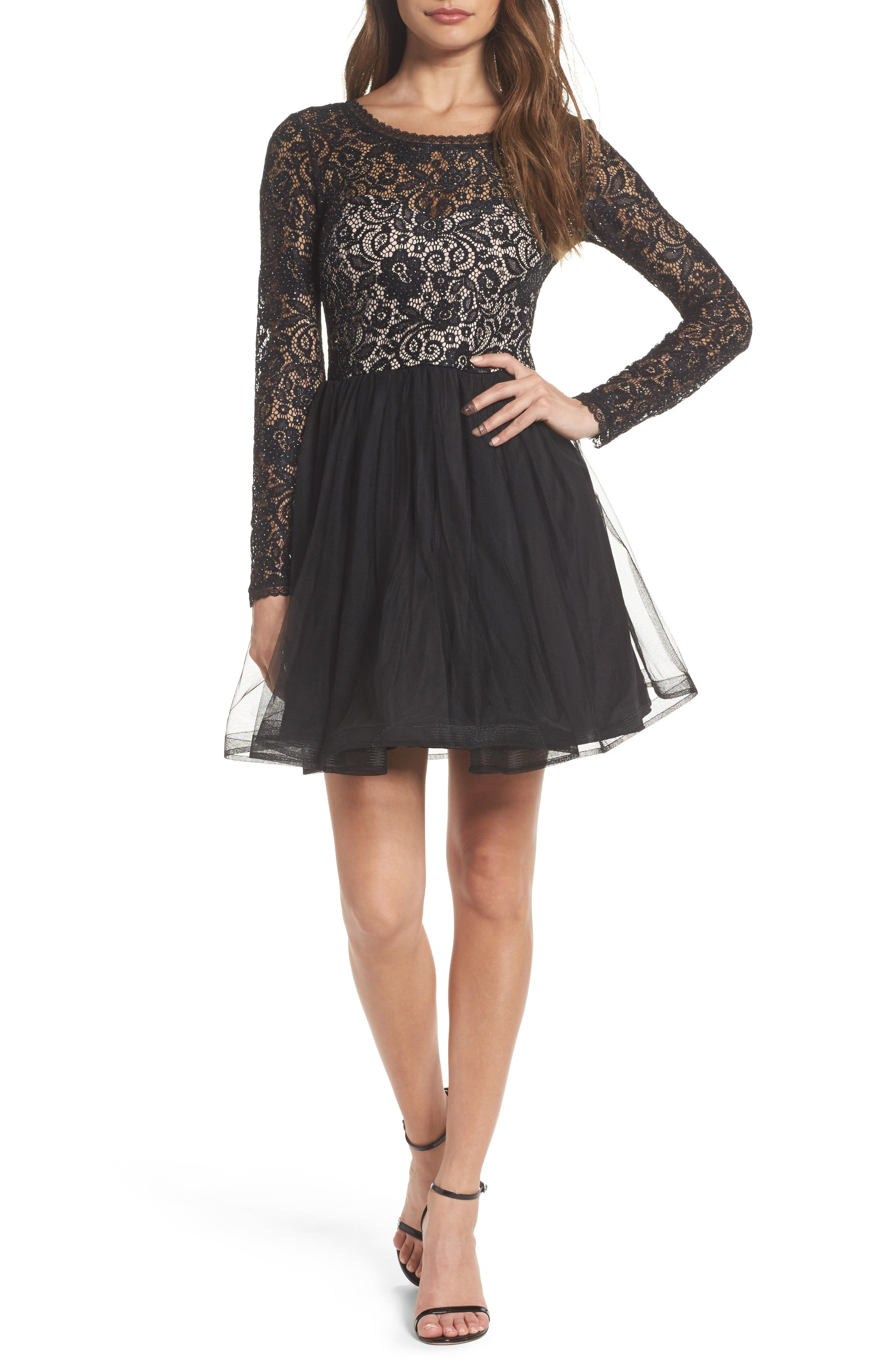 Sequin Hearts Tie Back Glitter Lace Fit & Flare Minidress