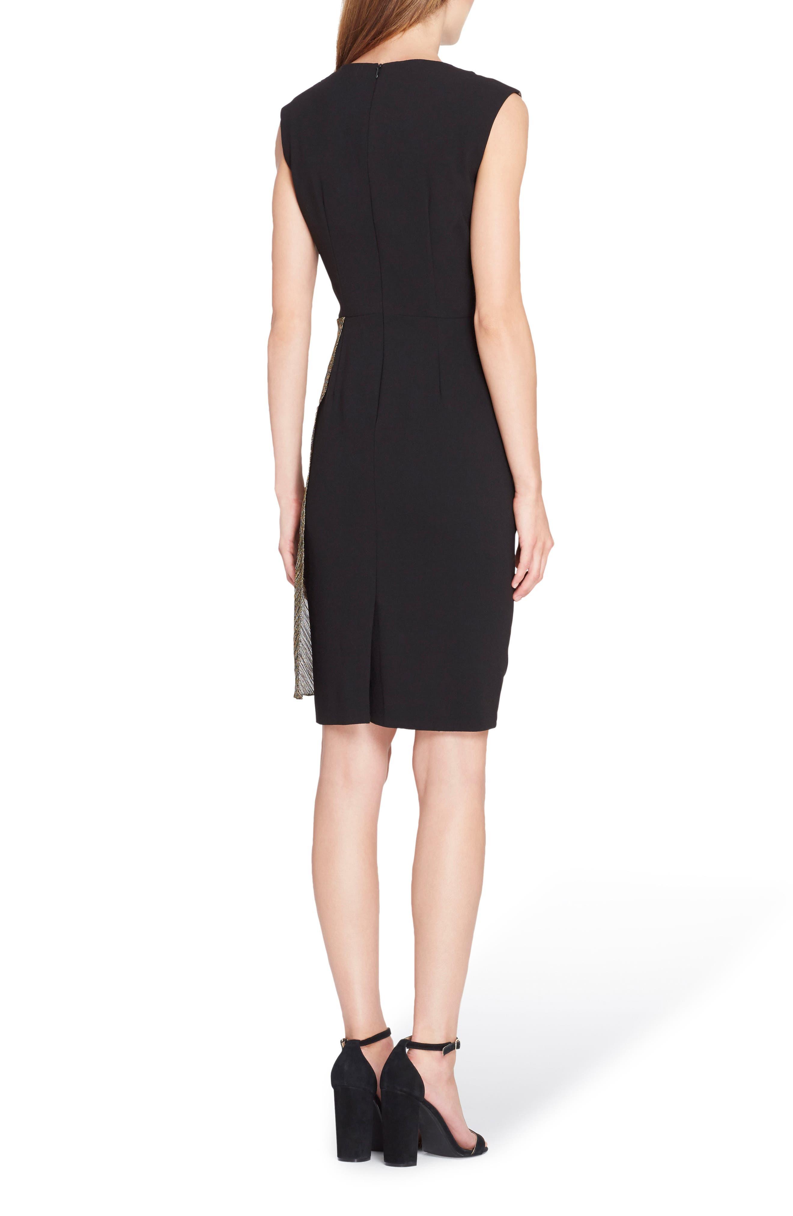 Sleeveless Wrap Detail Sheath Dress,                             Alternate thumbnail 2, color,                             Black/ Gold