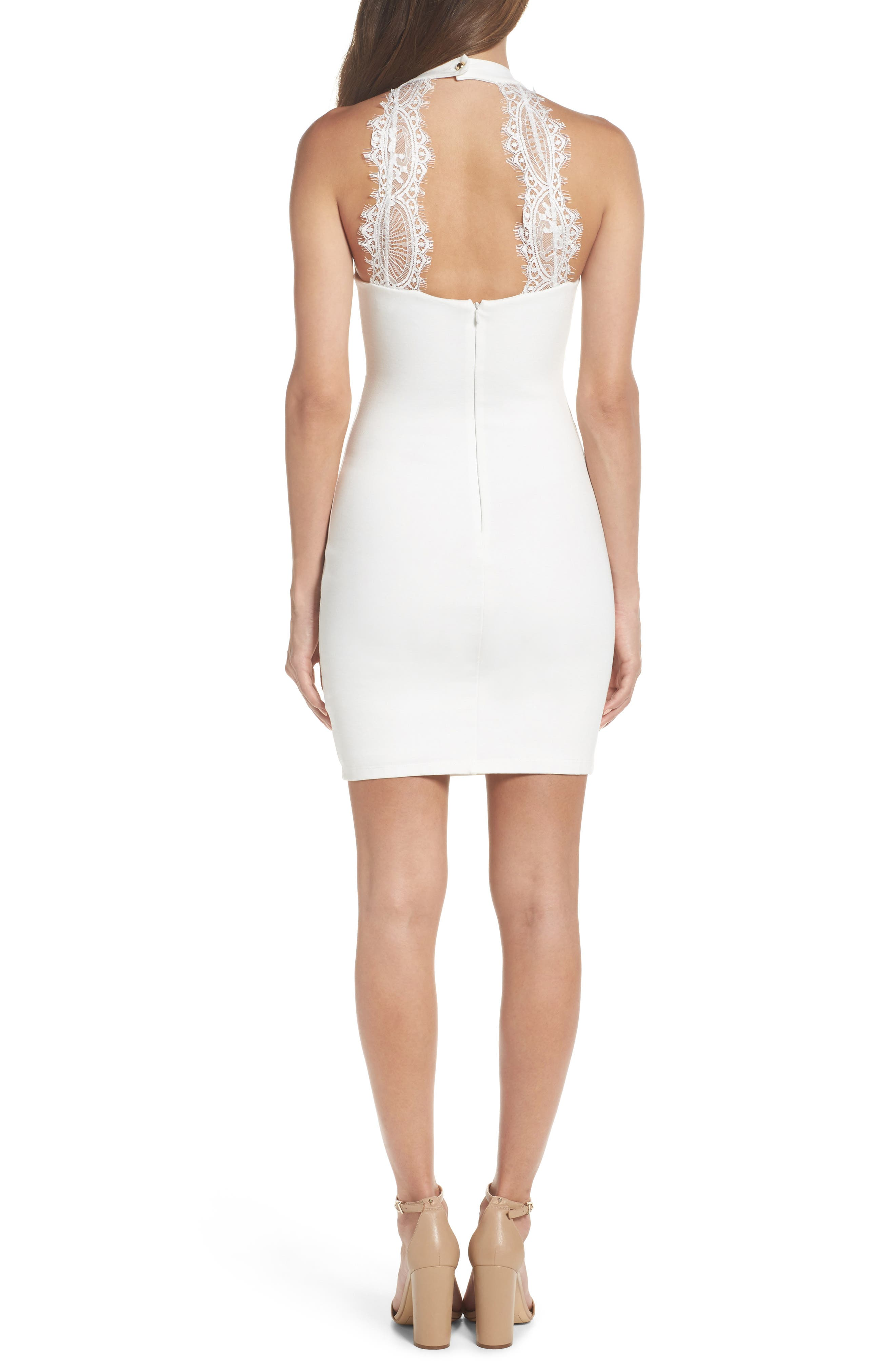 Endlessly Alluring Lace Trim Body Con Dress,                             Alternate thumbnail 2, color,                             White