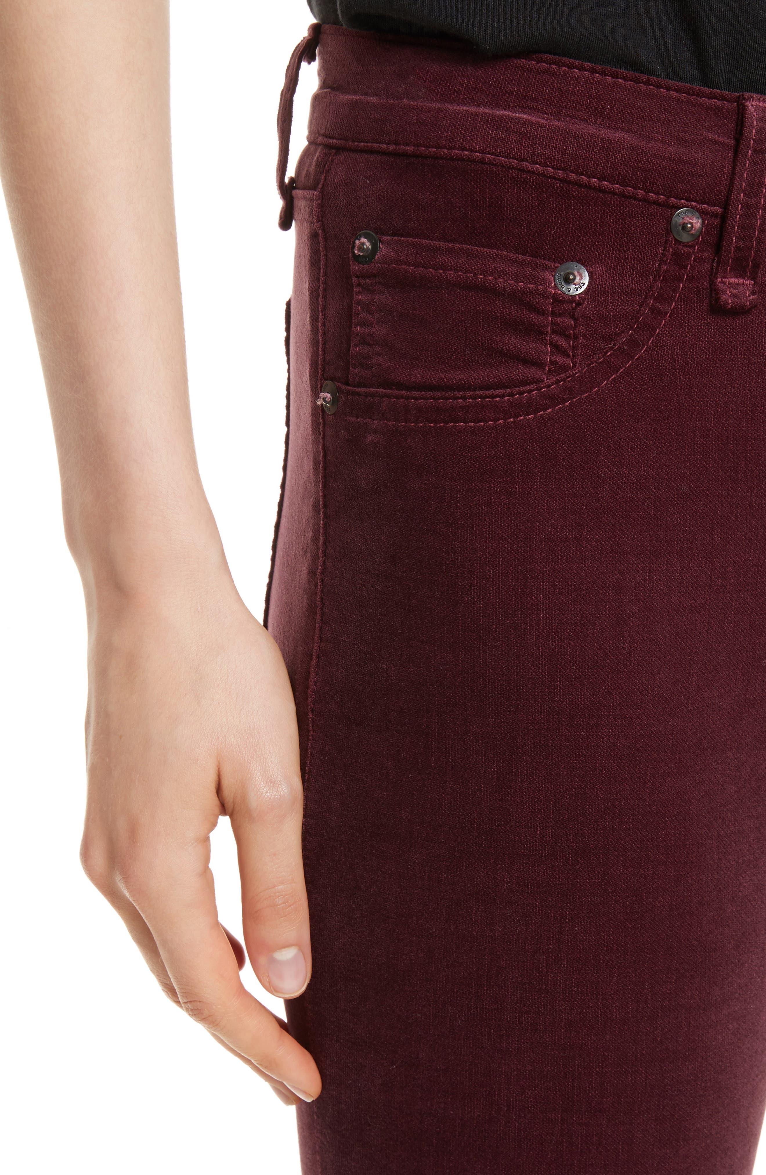 Alternate Image 4  - rag & bone/JEAN Velvet Skinny Jeans
