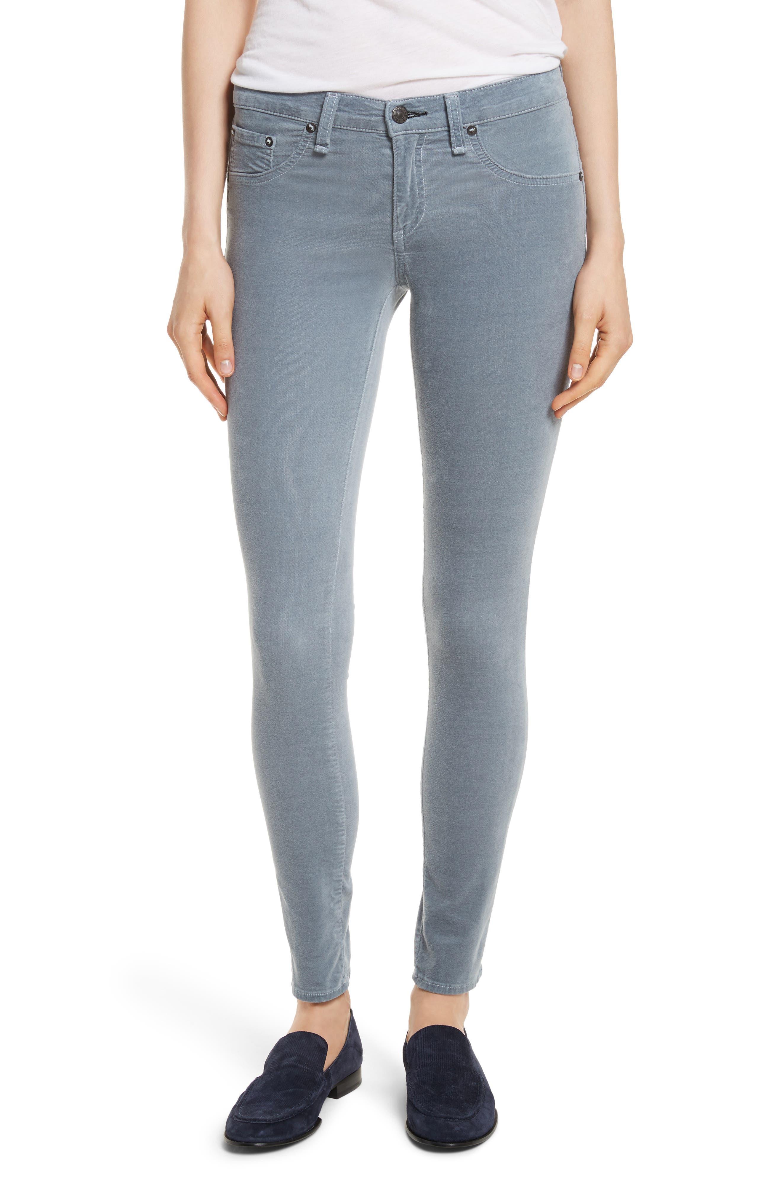 Velvet Skinny Jeans,                         Main,                         color, Steel Blue Velvet