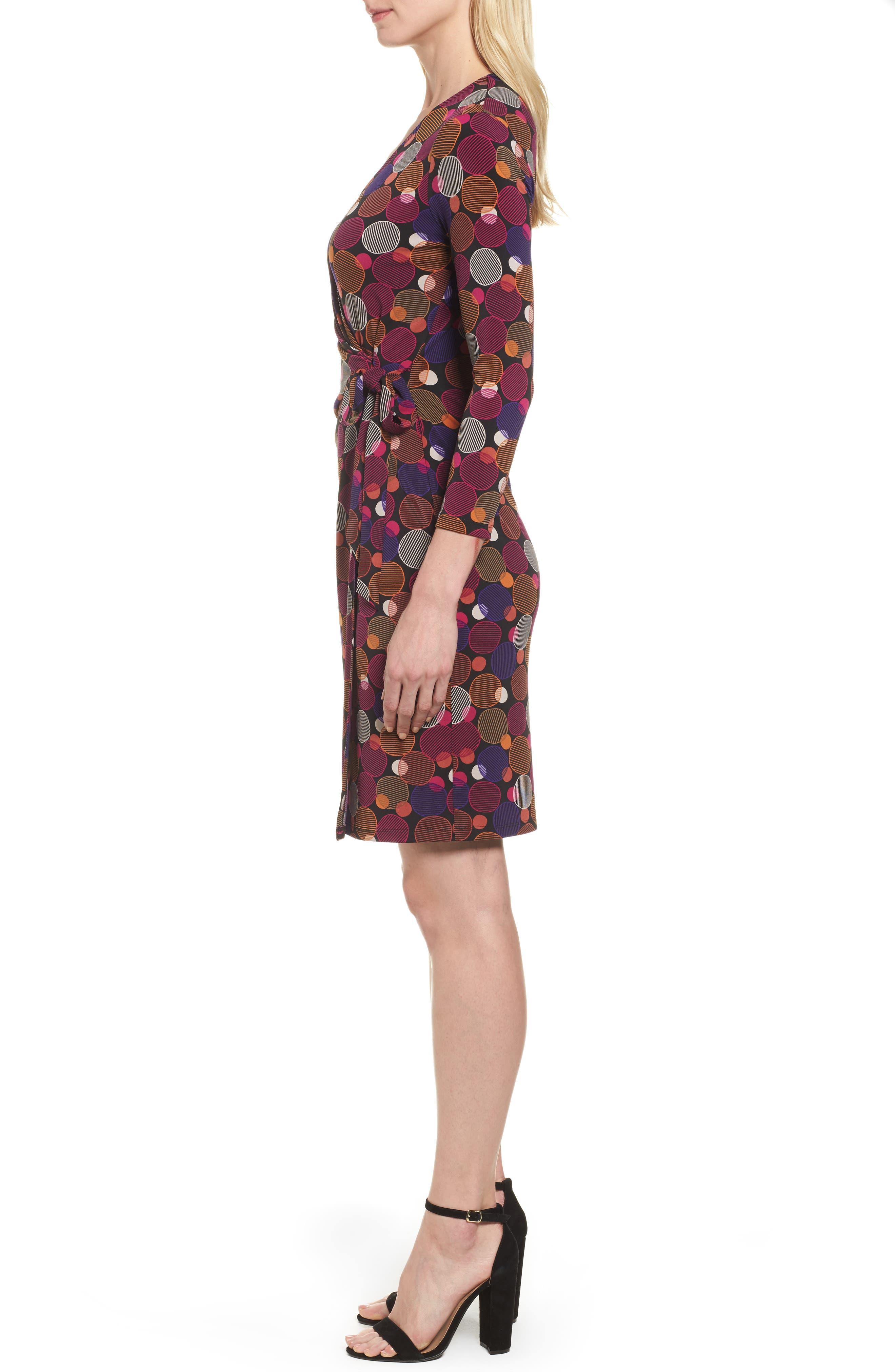 Dot Print Faux Wrap Dress,                             Alternate thumbnail 3, color,                             Cinnamon/ Claret Combo