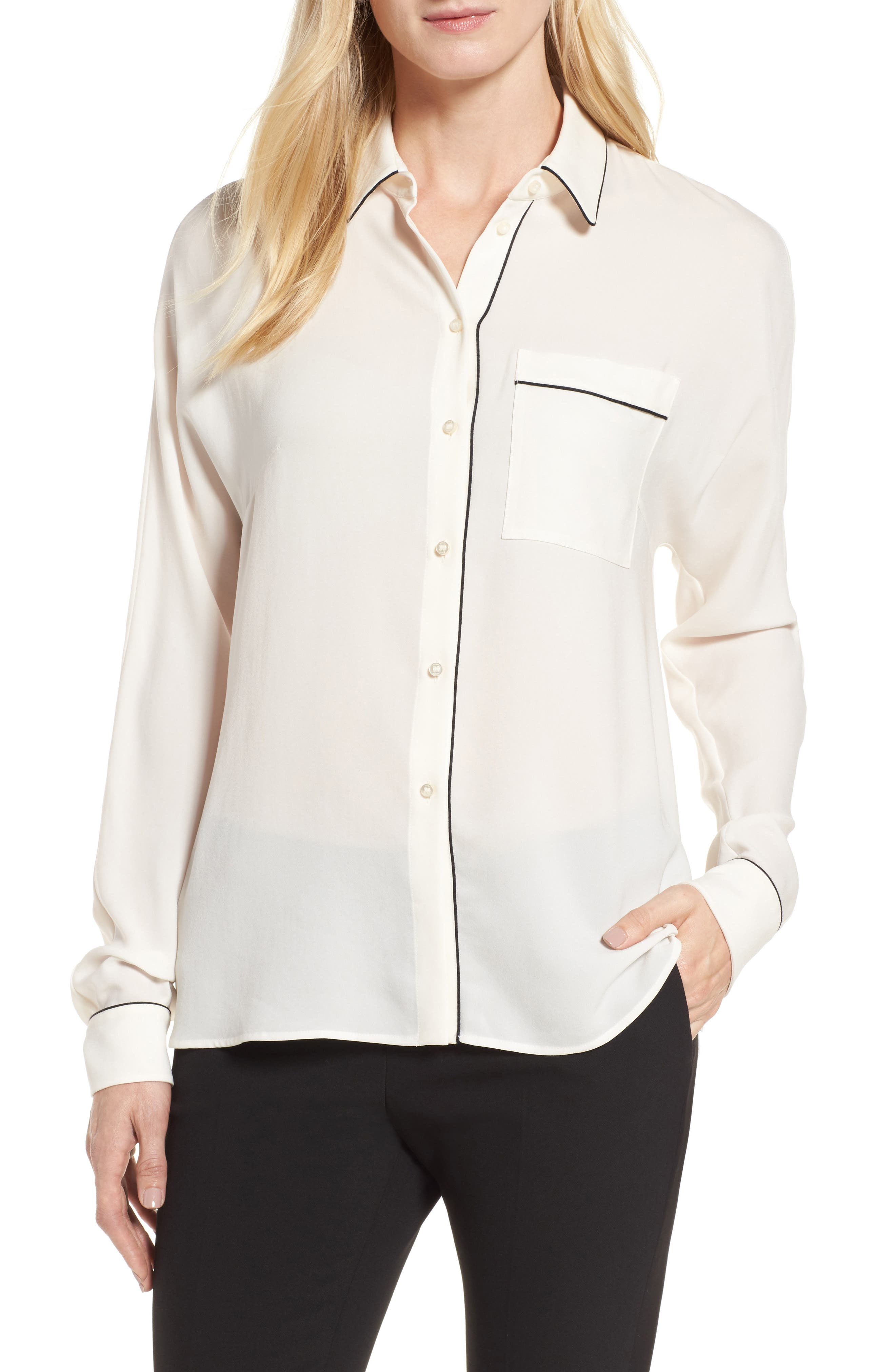Main Image - BOSS Benisa Piped Blouse