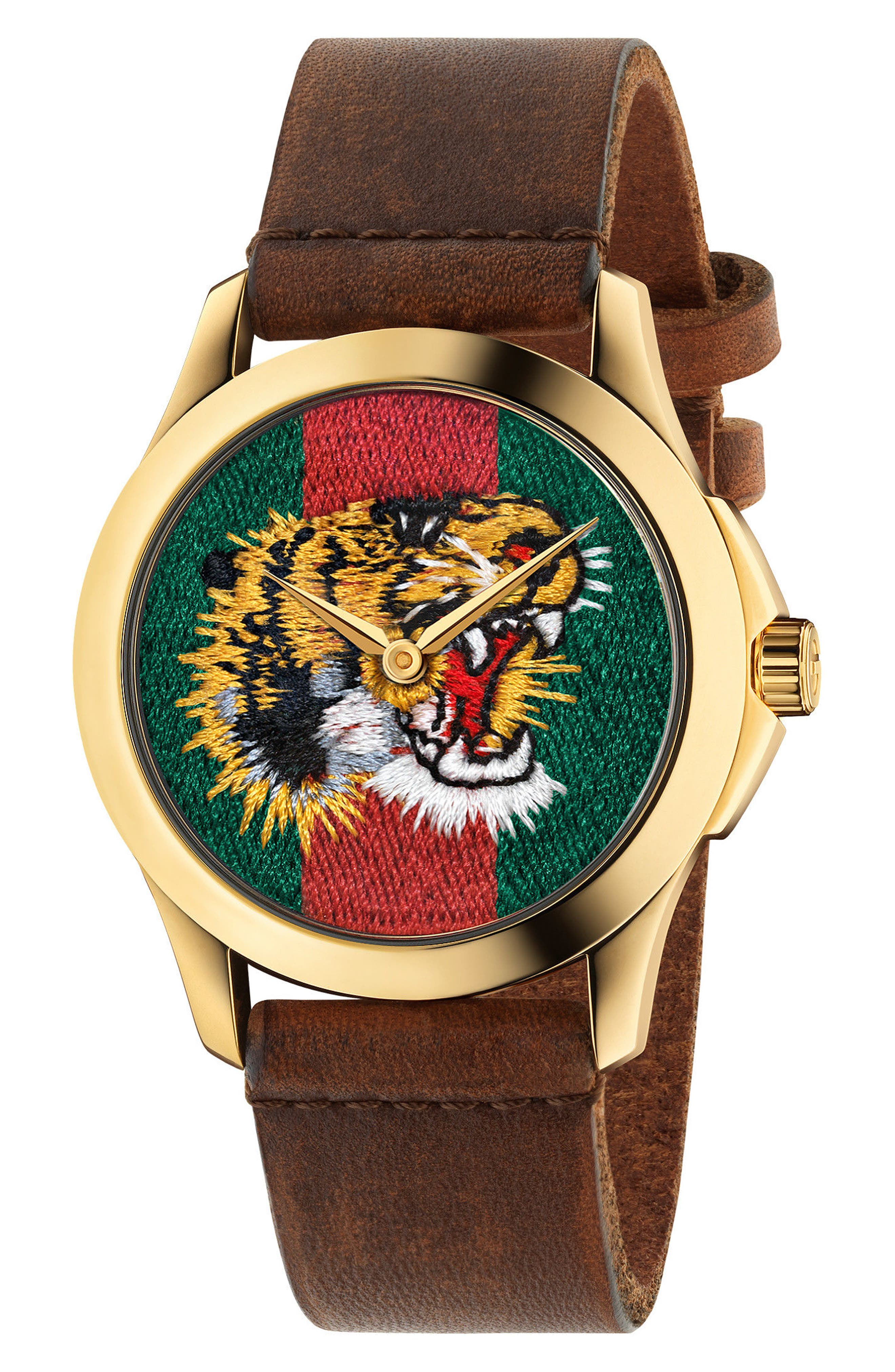 Gucci Tiger Leather Strap Watch, 38mm