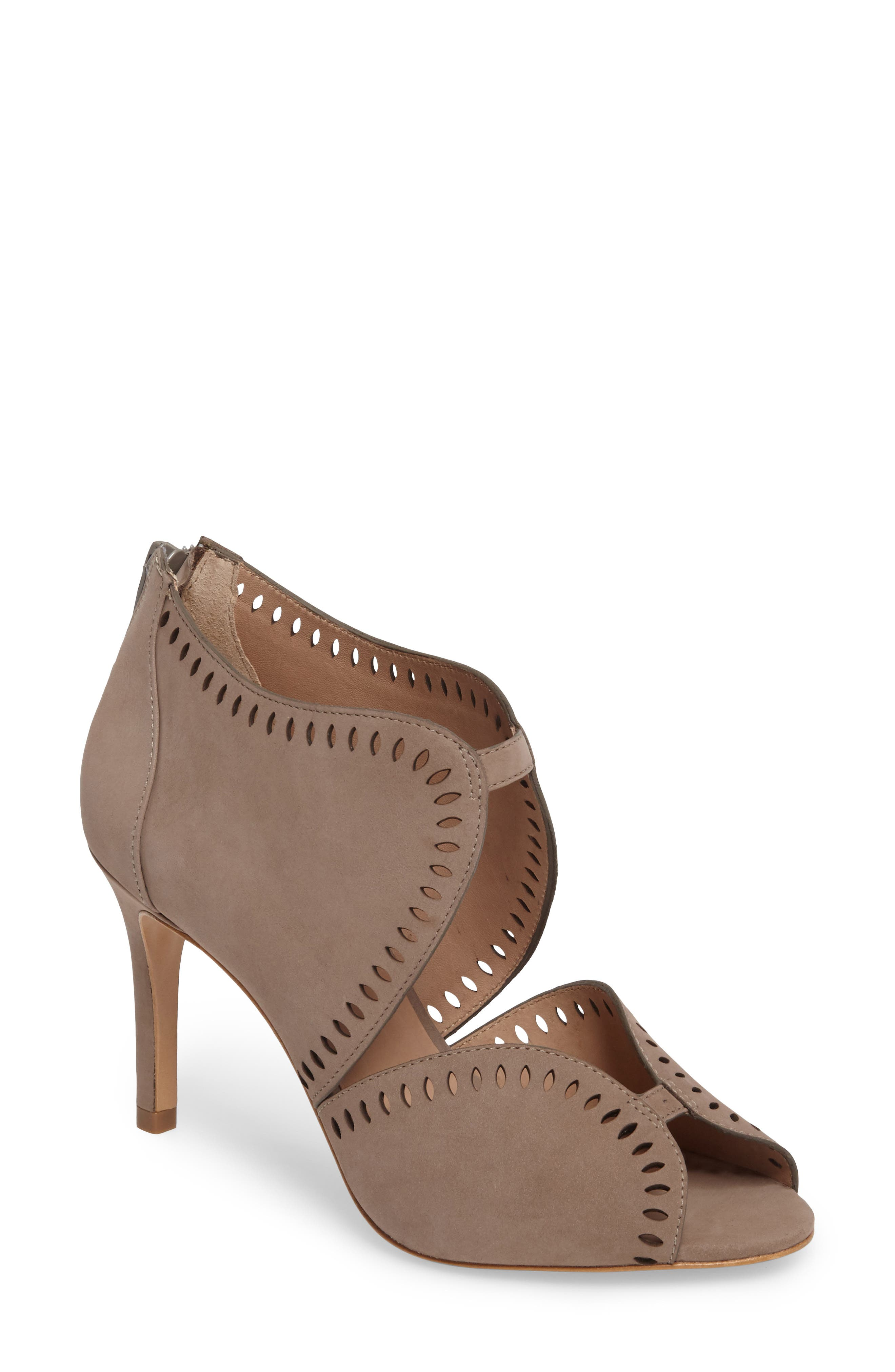 Mallia Perforated Sandal,                         Main,                         color, Taupe Nubuck Leather