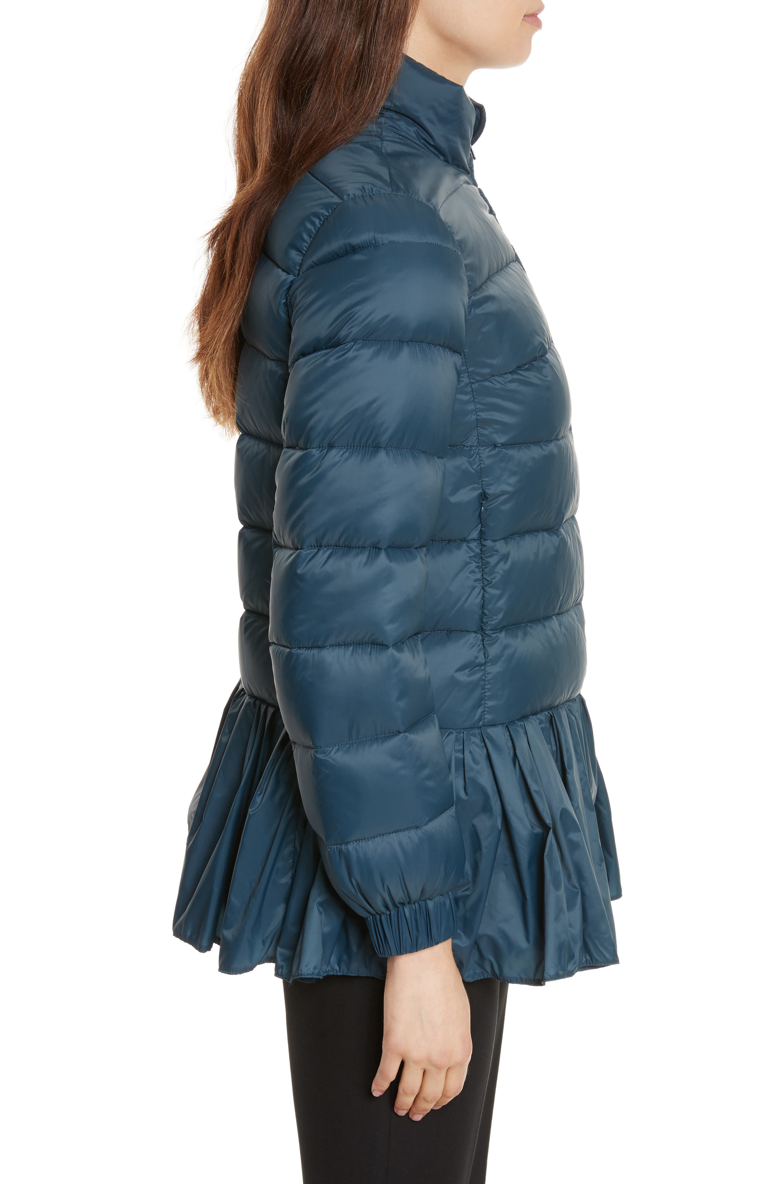 Quilted Peplum Jacket,                             Alternate thumbnail 3, color,                             Oltremare